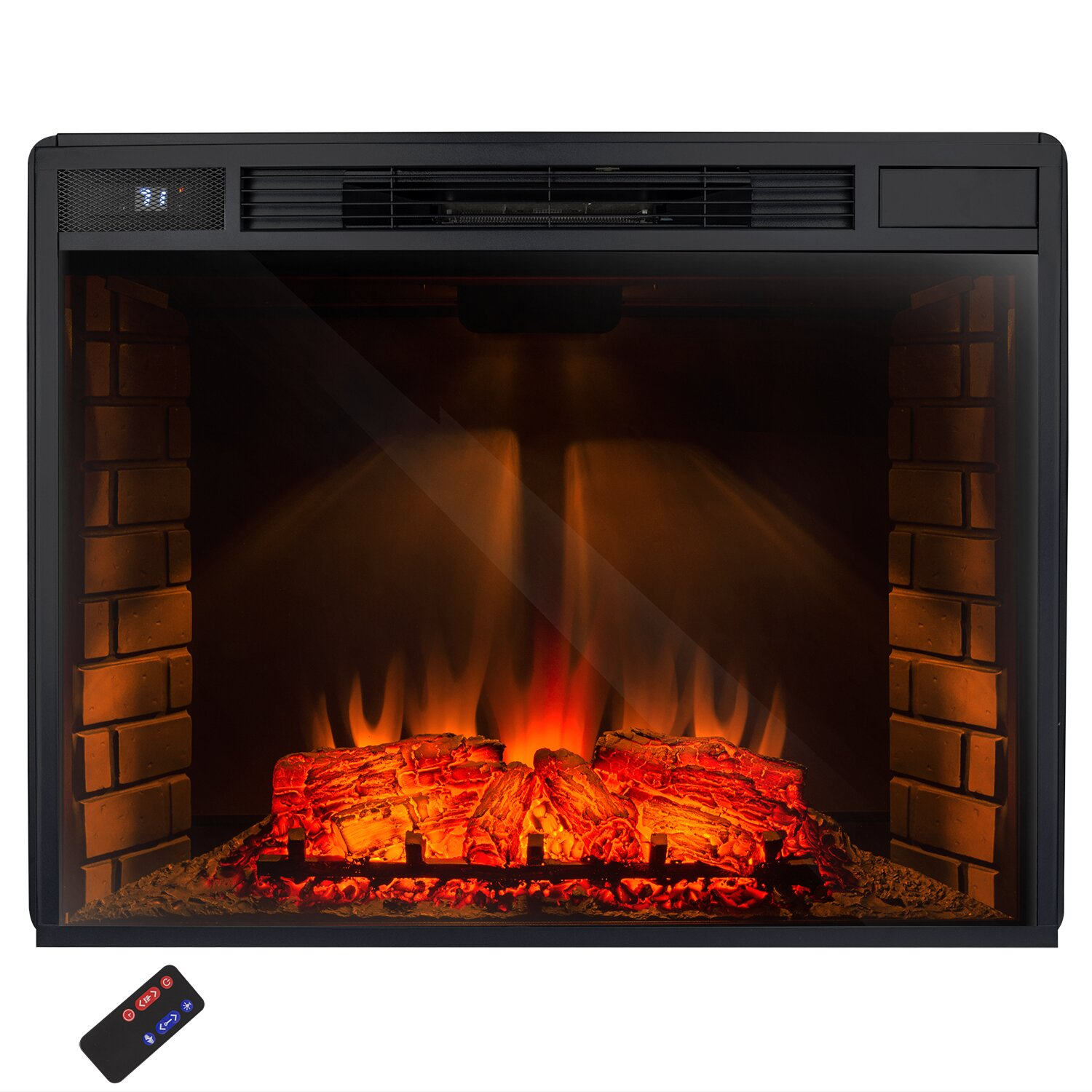 Akdy 33 Insert Freestanding 3d Logs Flame Electric Fireplace With Remote Reviews Wayfair