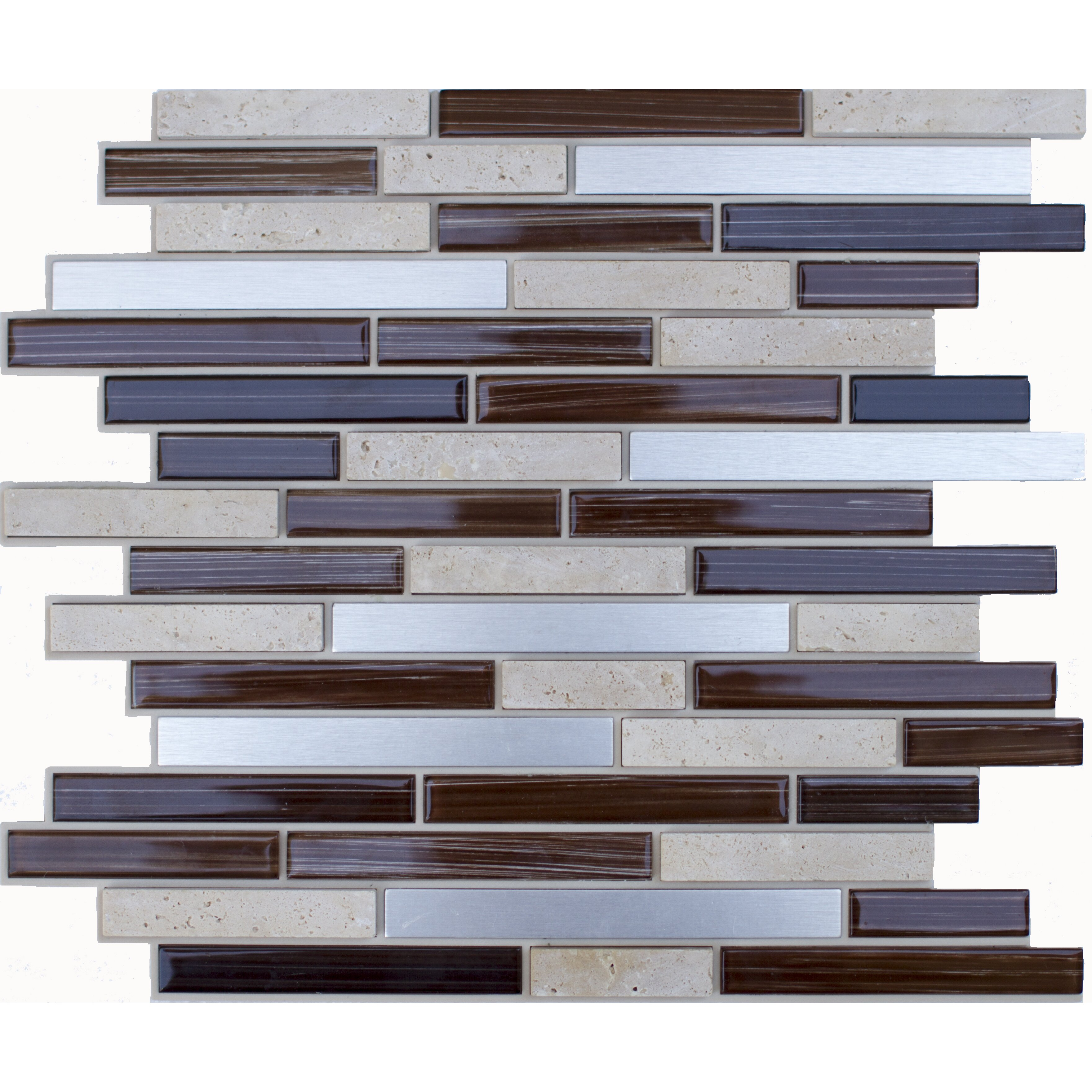 instant mosaic random sized glass natural stone metal peel and stick mosaic tile in brown. Black Bedroom Furniture Sets. Home Design Ideas