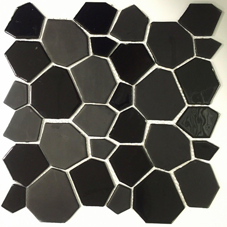 12 x 12 glass peel and stick mosaic tile in black wayfair. Black Bedroom Furniture Sets. Home Design Ideas
