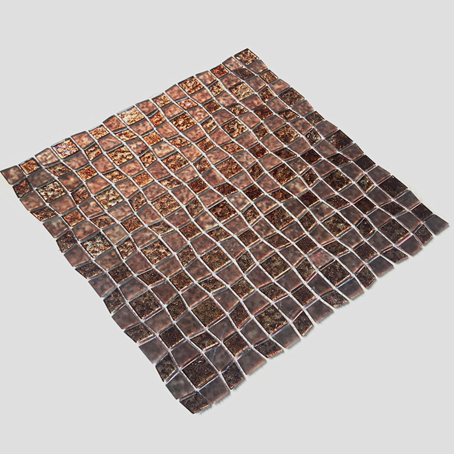 12 x 12 glass peel and stick mosaic tile in brown wayfair. Black Bedroom Furniture Sets. Home Design Ideas