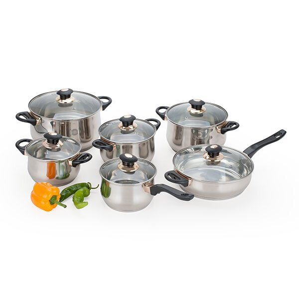 Alpine cuisine 12 piece jumbo stainless steel cookware set for Art and cuisine cookware