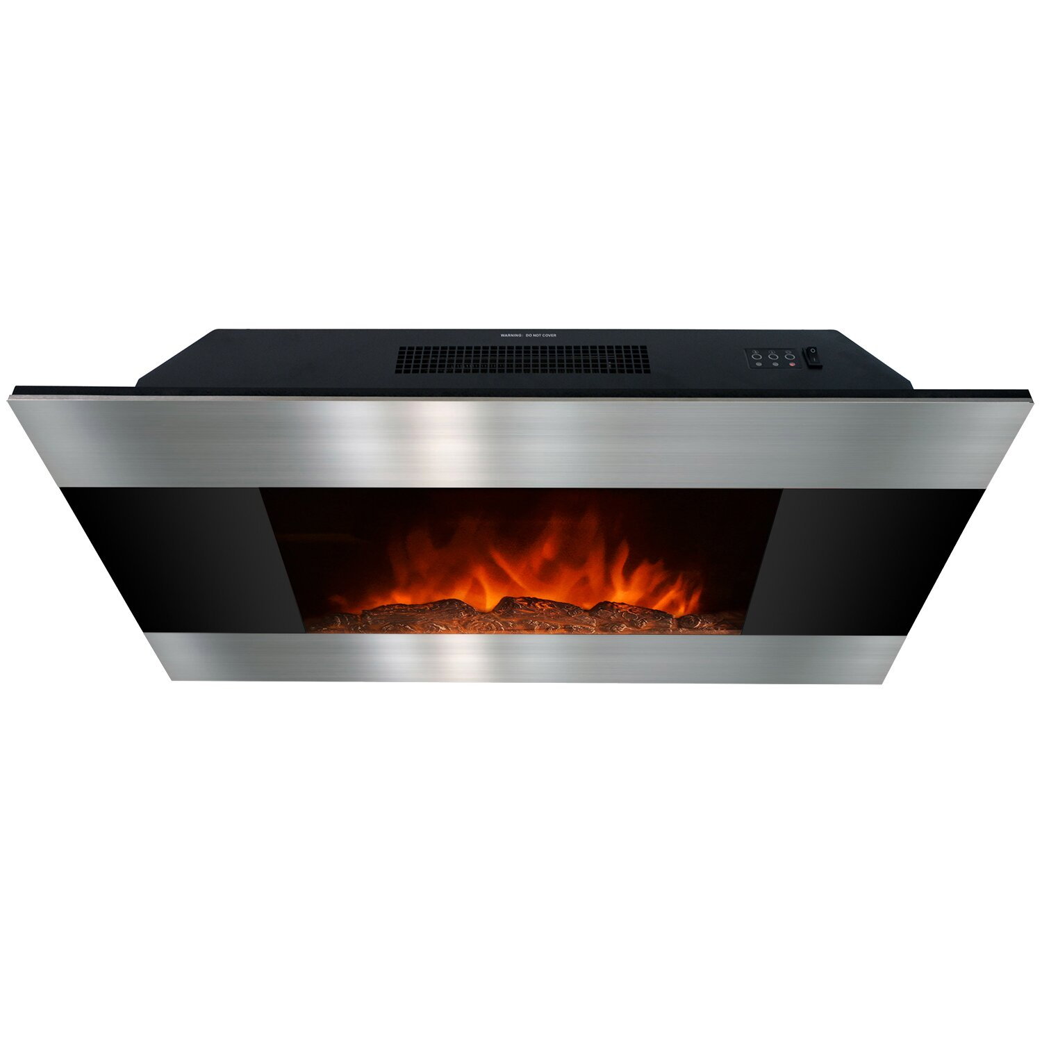 Goldenvantage 36 Wall Mount Stainless Steel And Black Electric Fireplace Reviews Wayfair