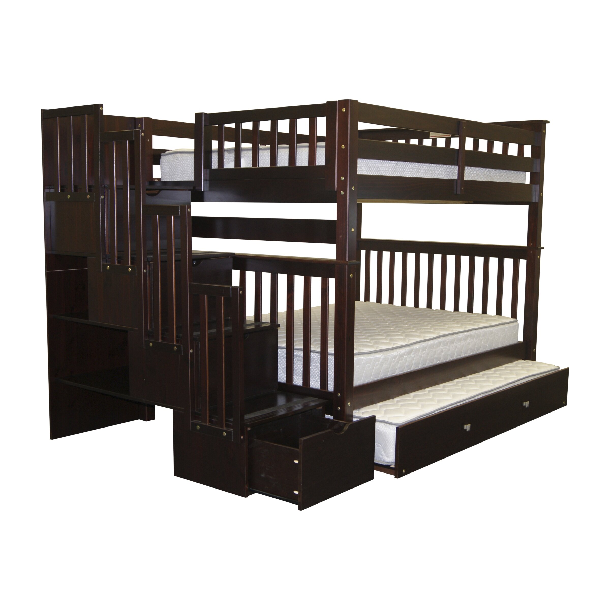 bedz king full over full bunk bed with full trundle. Black Bedroom Furniture Sets. Home Design Ideas