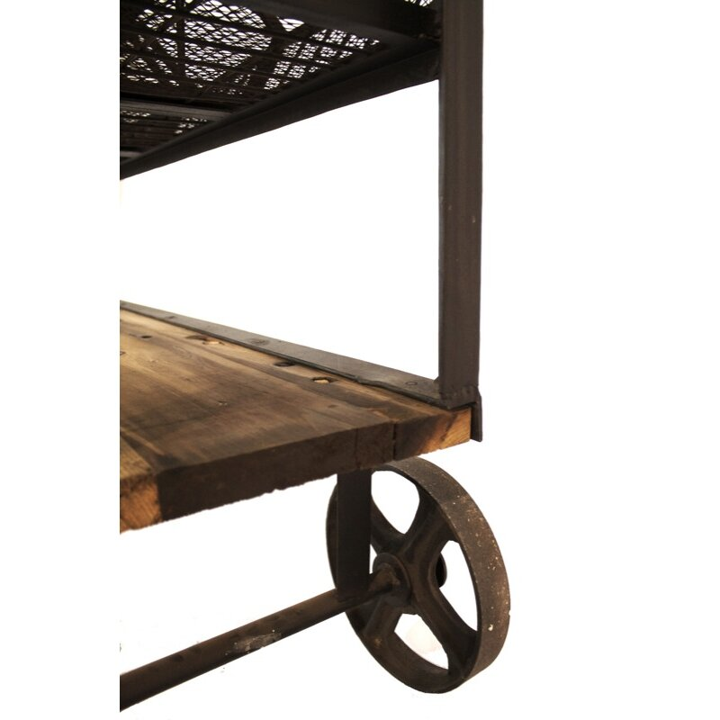 Cdi International Industrial Kitchen Cart With Mango Top: Industrial Console Table