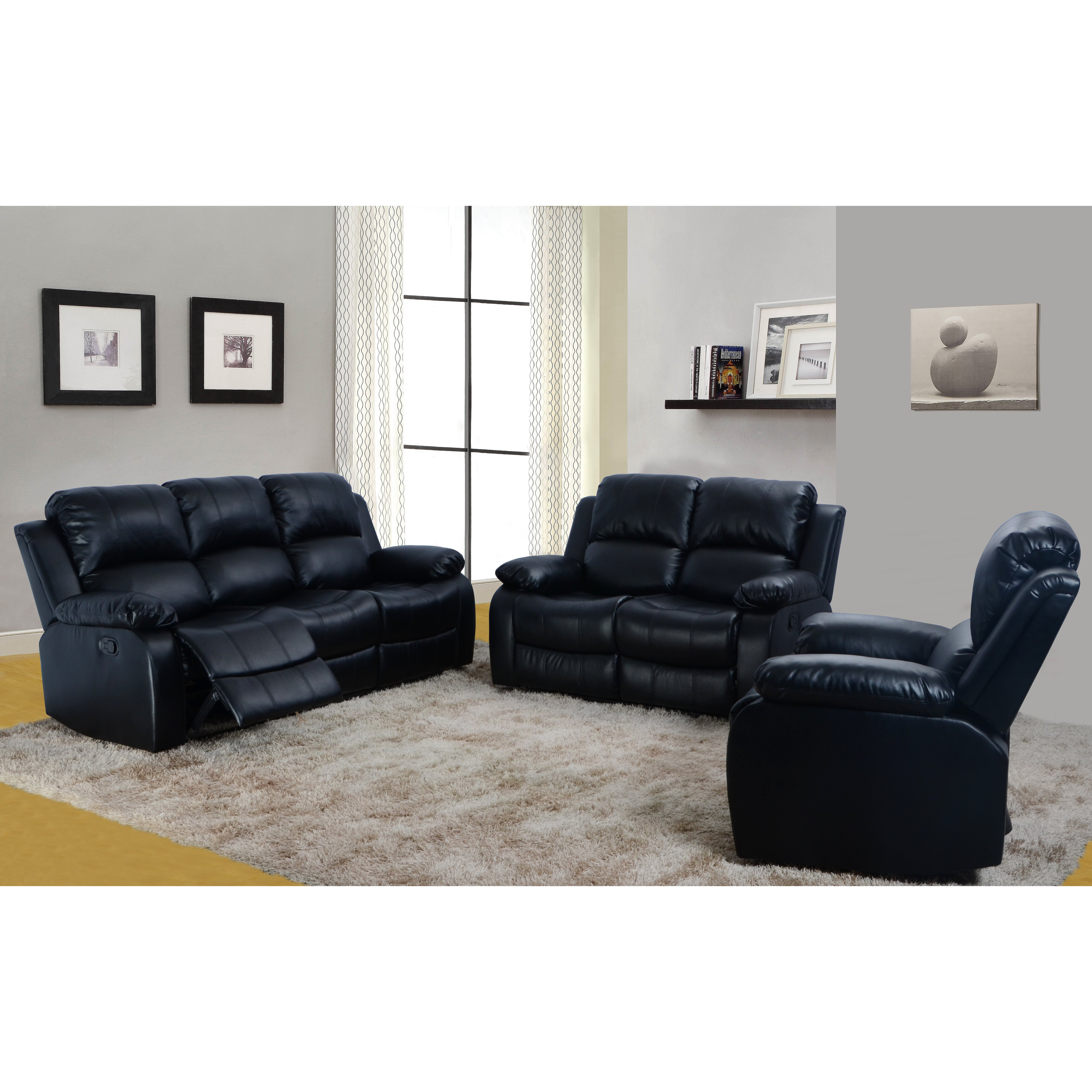 furniture denver 3 piece bonded leather reclining living room sofa set