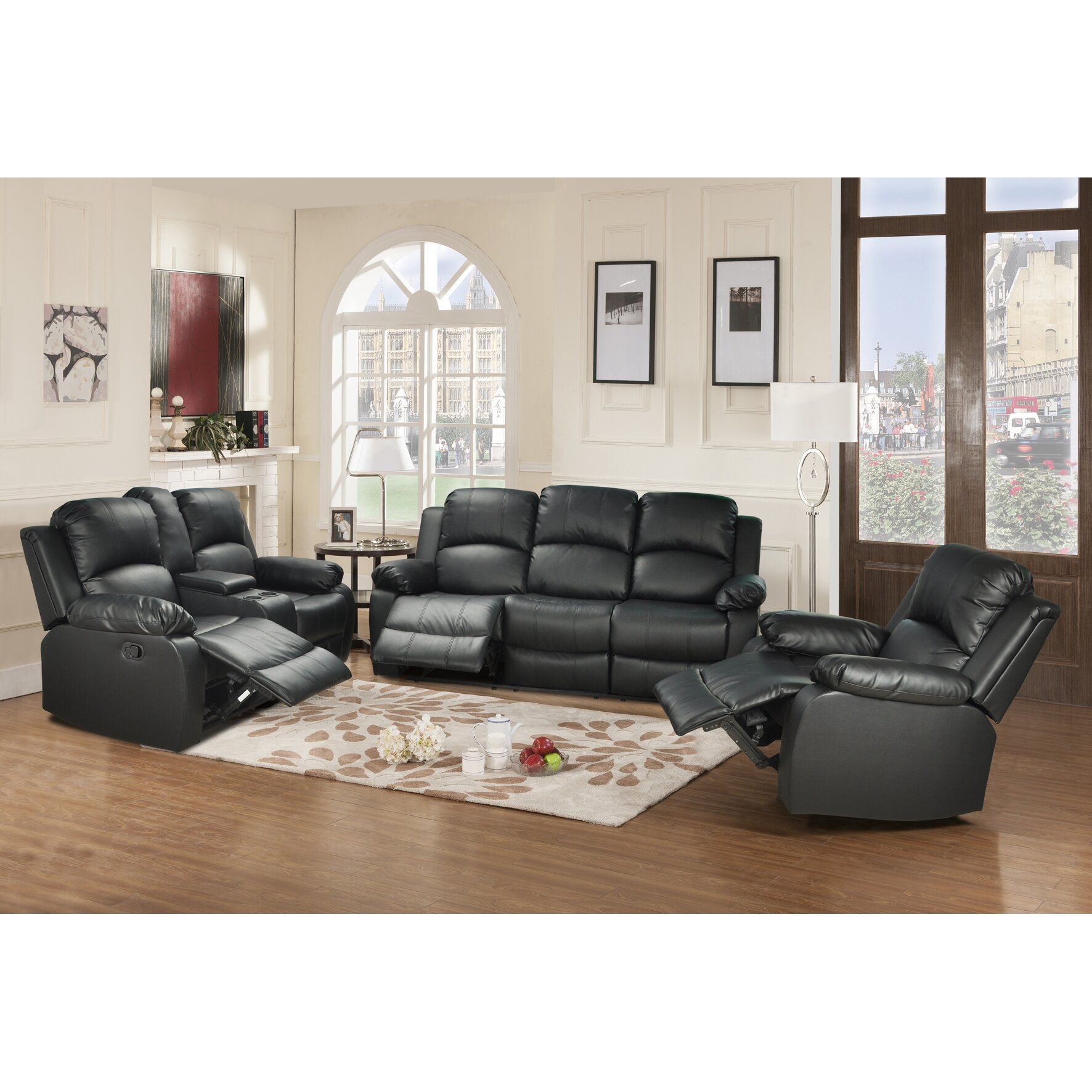 Beverly fine furniture amado 3 piece reclining living room for Living room 3 piece sets