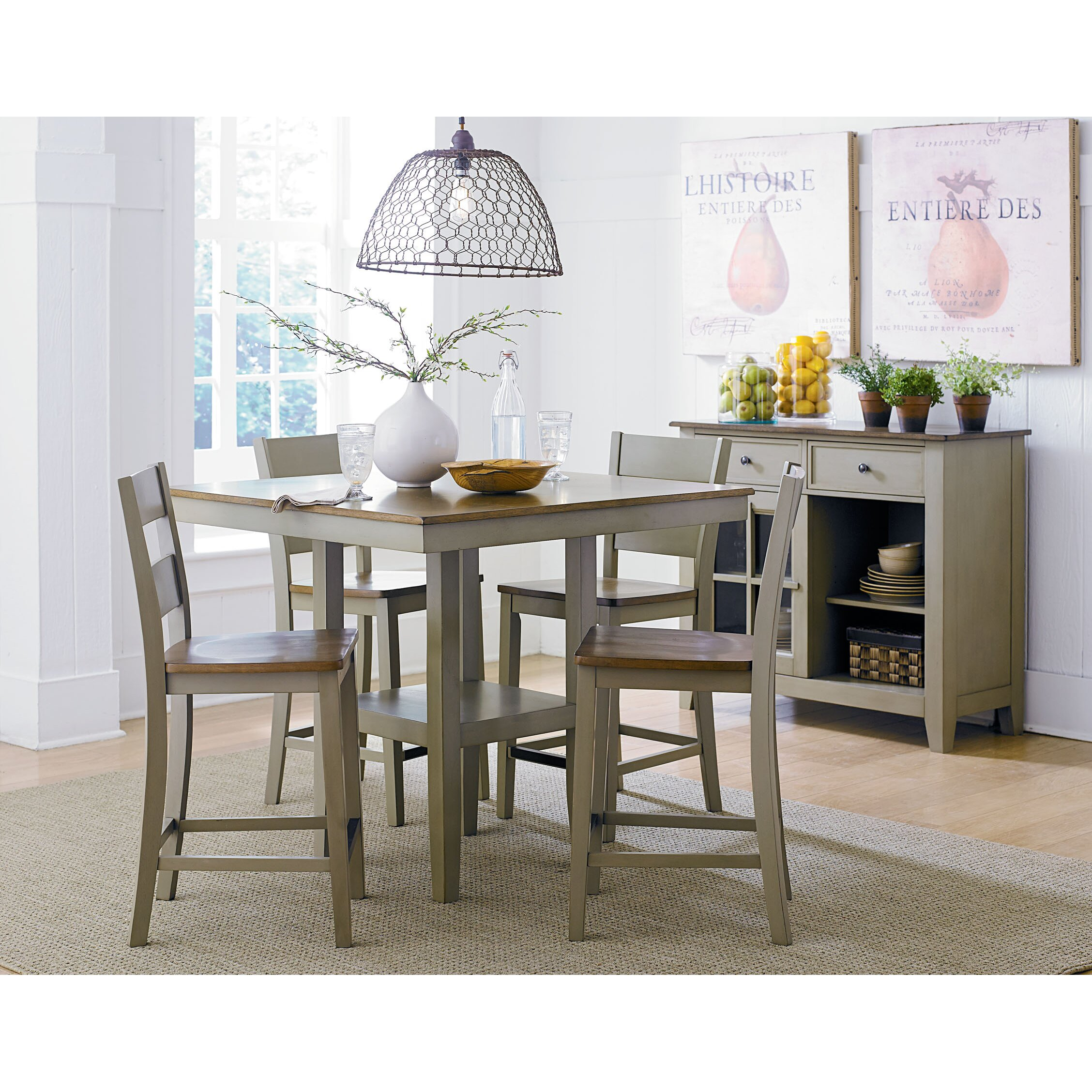 Standard Furniture Brooklyn 5 Piece Counter Height Dining: Pendleton Sage 5 Piece Counter Height Dining Set