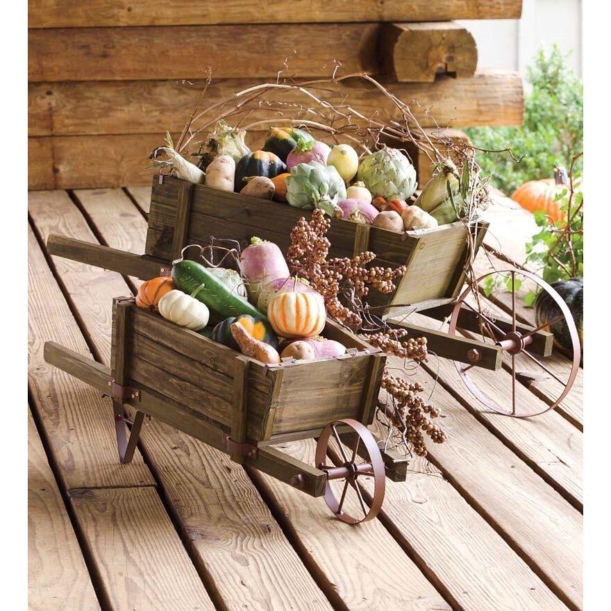 Wood Wheelbarrow: Plow & Hearth Novelty Wheelbarrow Planter & Reviews