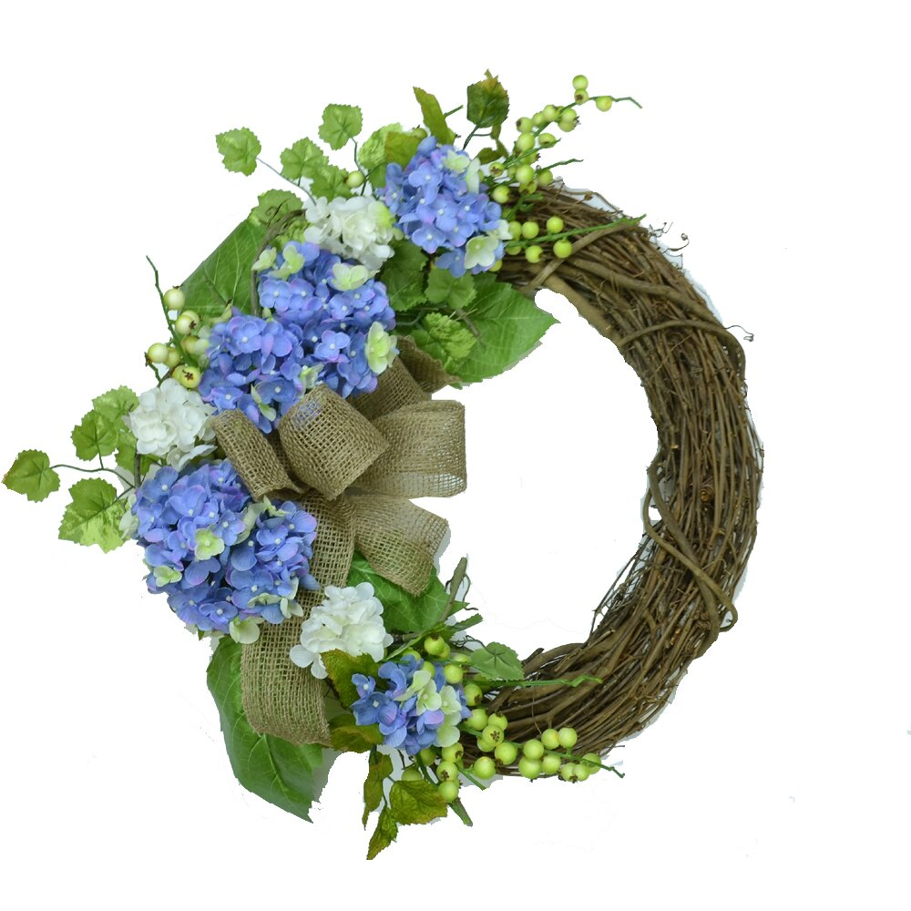 "18"" Blue Hydrangea Crescent Wreath by Floral Home Decor"