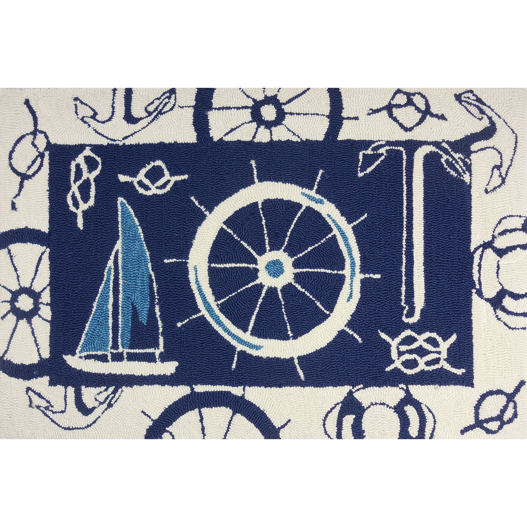 Nautical Blue Beige Indoor Outdoor Area Rug