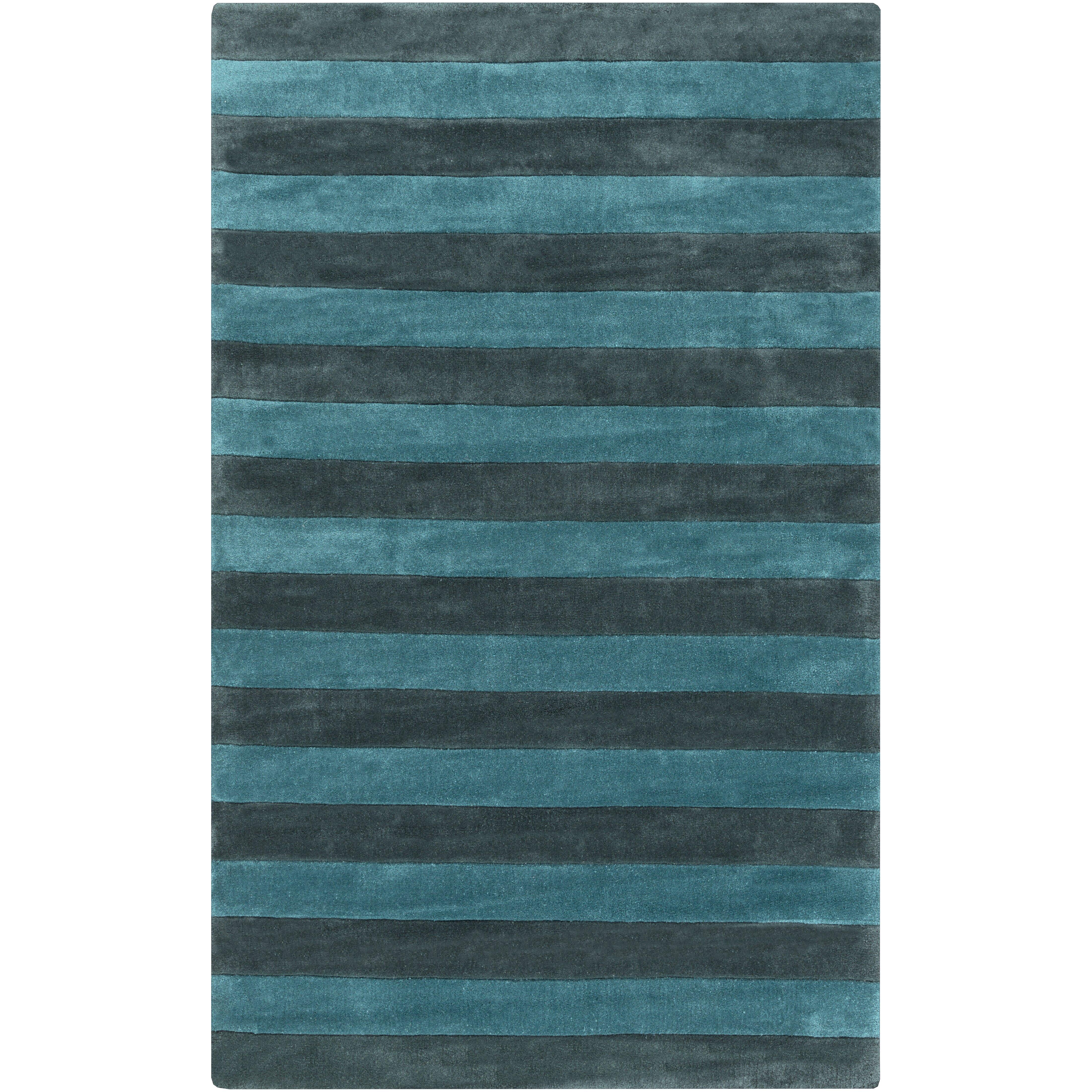 Surya Cosmopolitan Teal/Gray Stripe Area Rug & Reviews