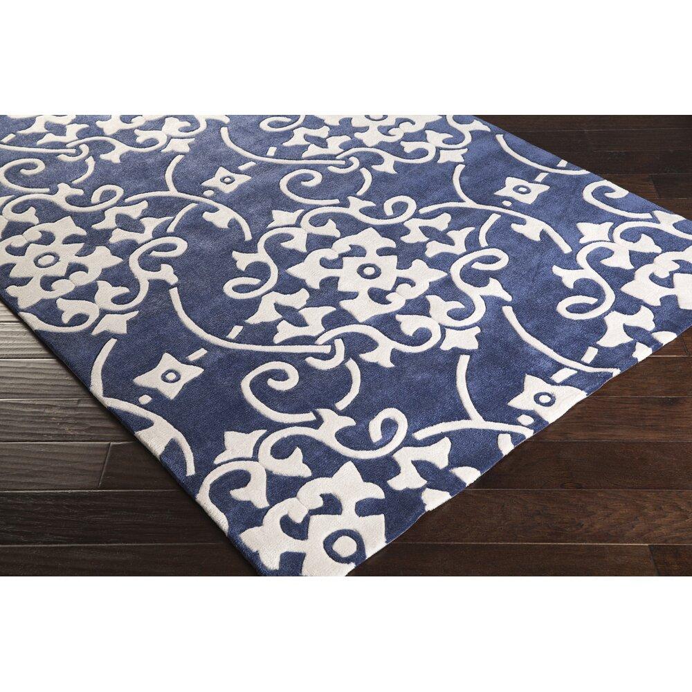 cosmopolitan hand tufted navy white area rug wayfair. Black Bedroom Furniture Sets. Home Design Ideas