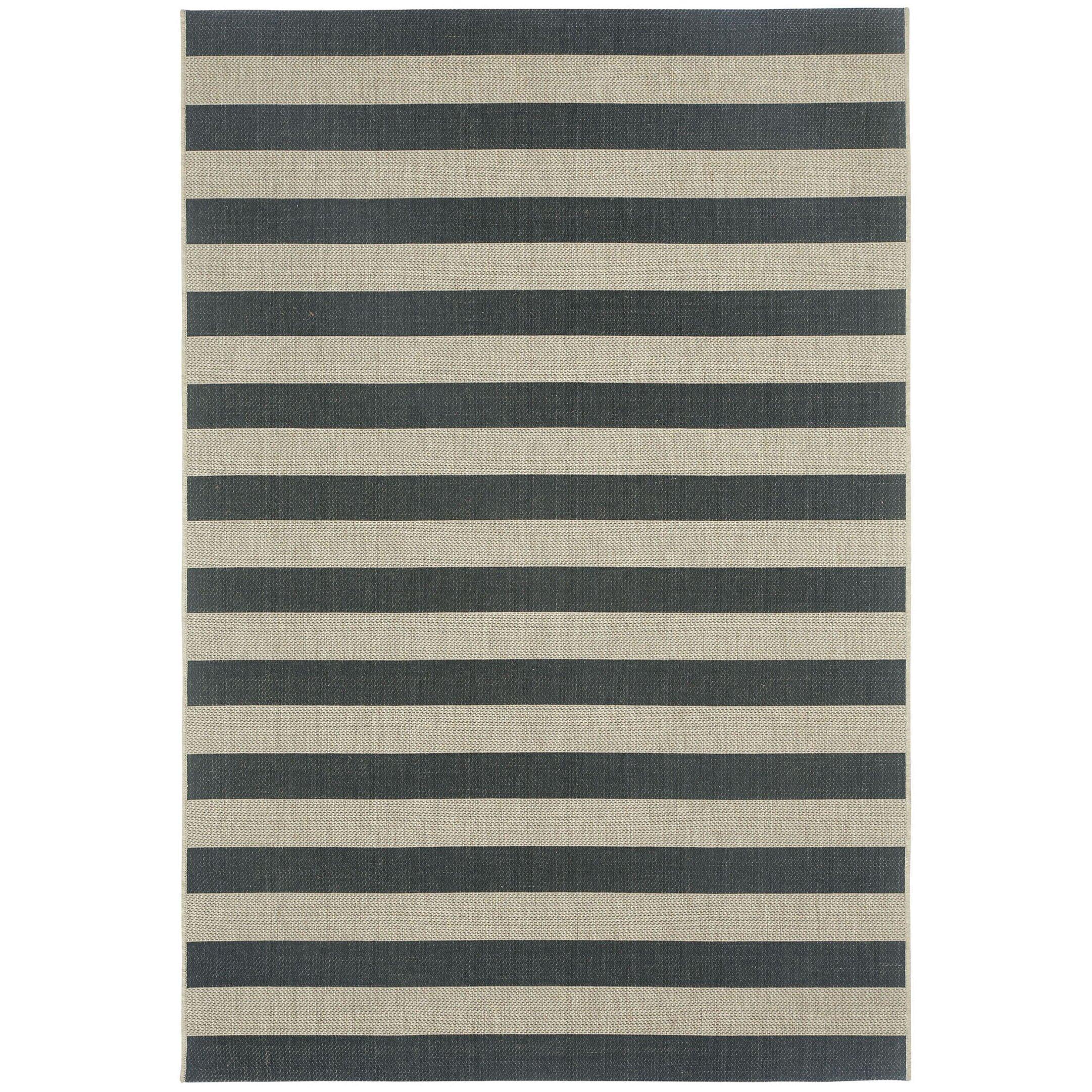 Capel Elsinore Cinders Black Grey Striped Outdoor Area Rug