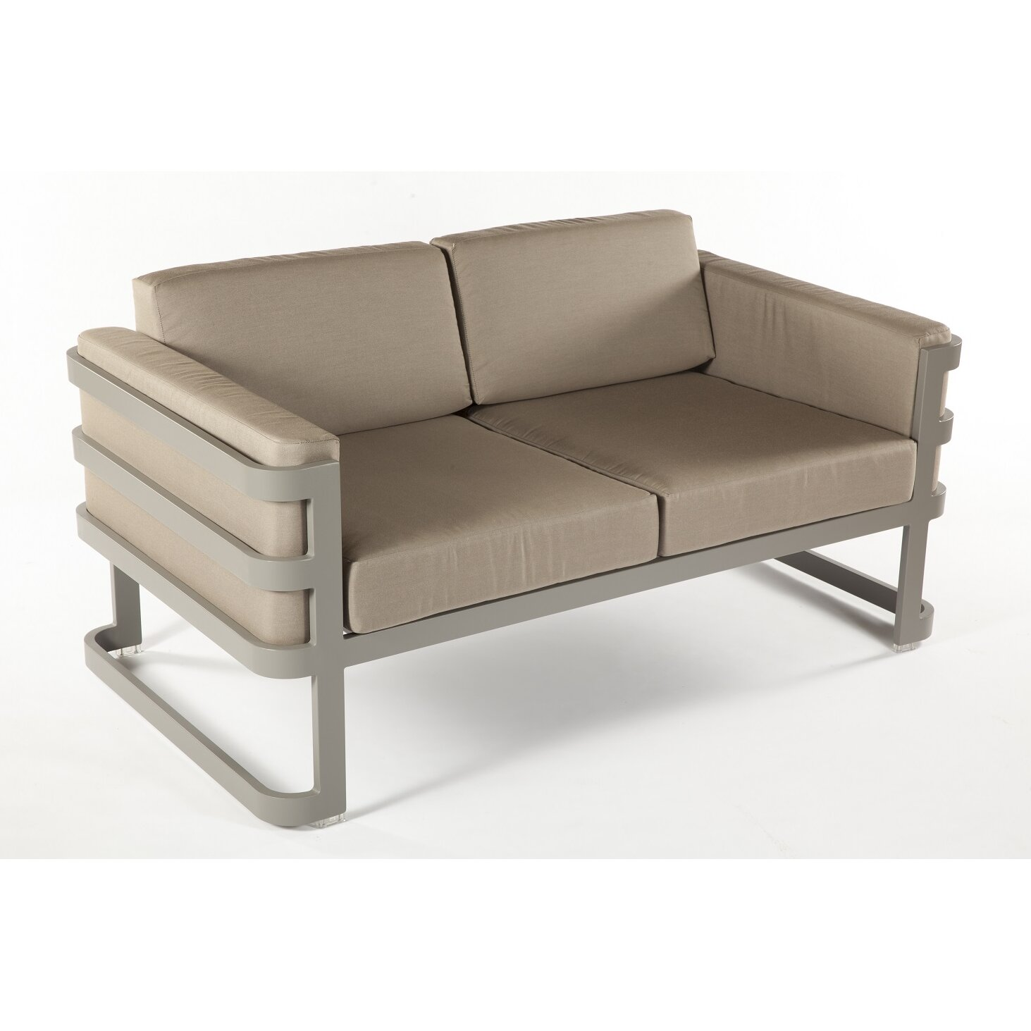 Patras Outdoor Loveseat with Beige Cushions