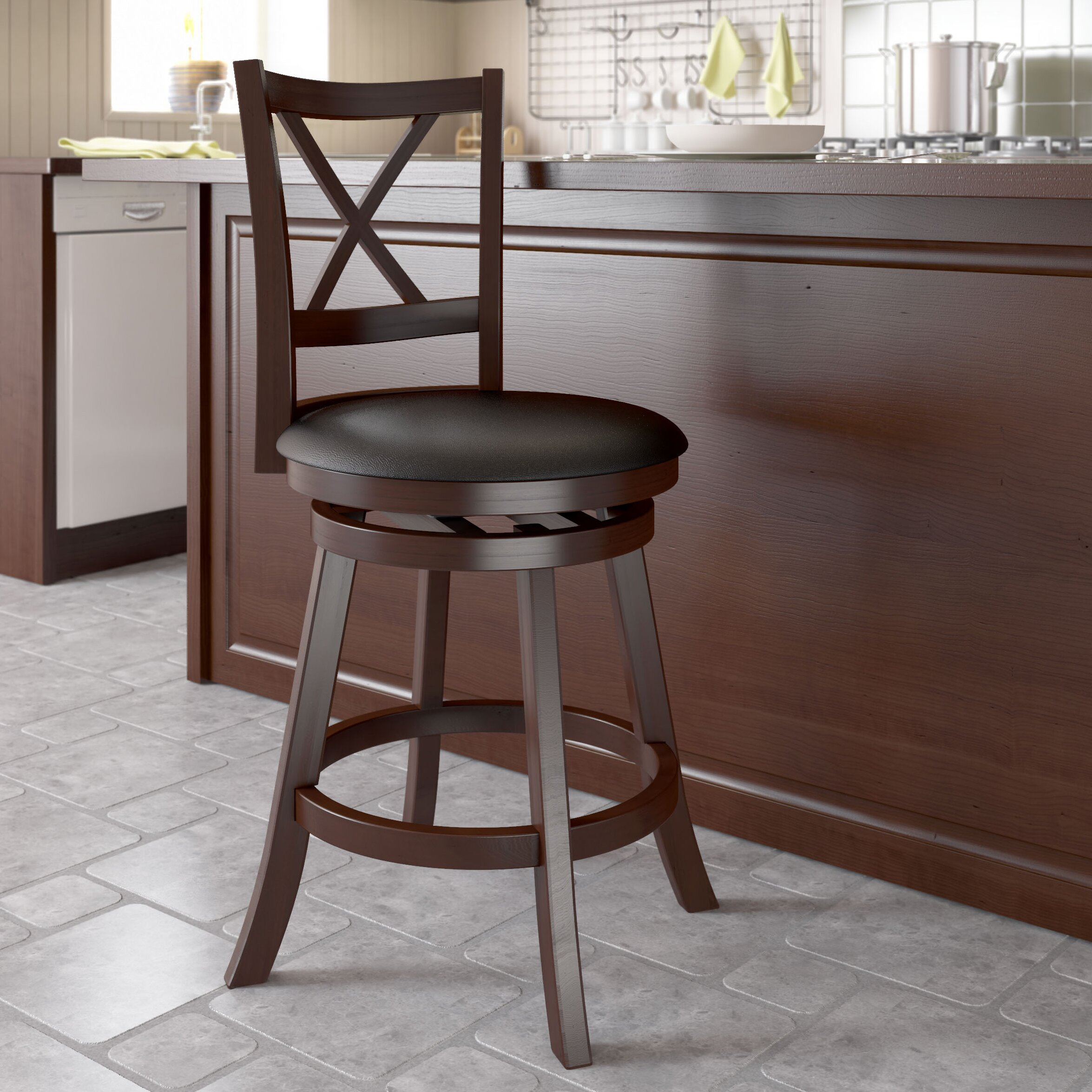Amazing photo of  design Woodgrove 24 Swivel Bar Stool with Cushion & Reviews W  with #412C26 color and 2350x2350 pixels