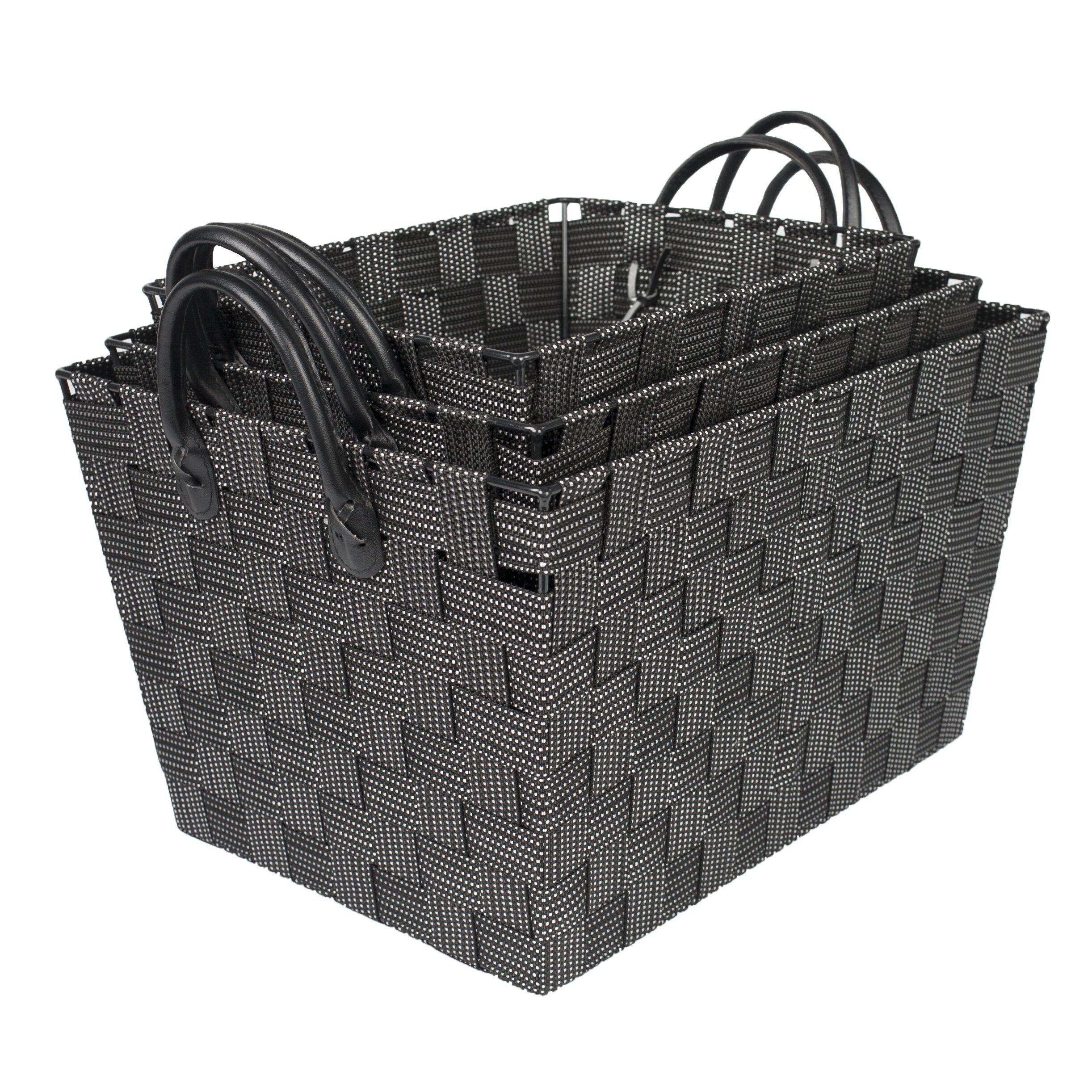 3 piece woven storage baskets with handles wayfair. Black Bedroom Furniture Sets. Home Design Ideas