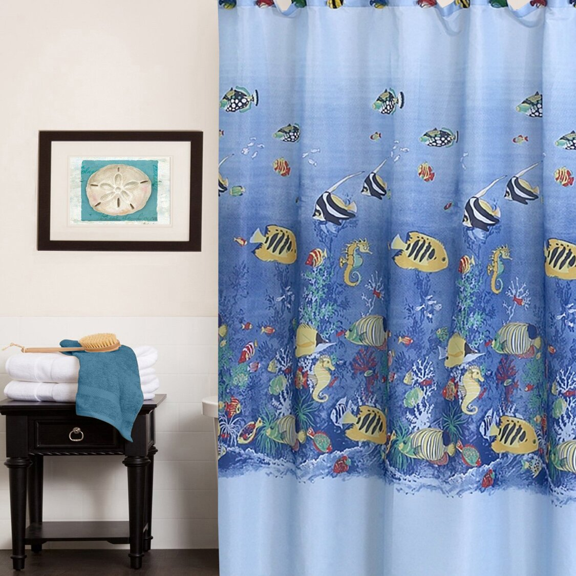 Sweet Home Collection Colorful Tropical Sea Printed Shower