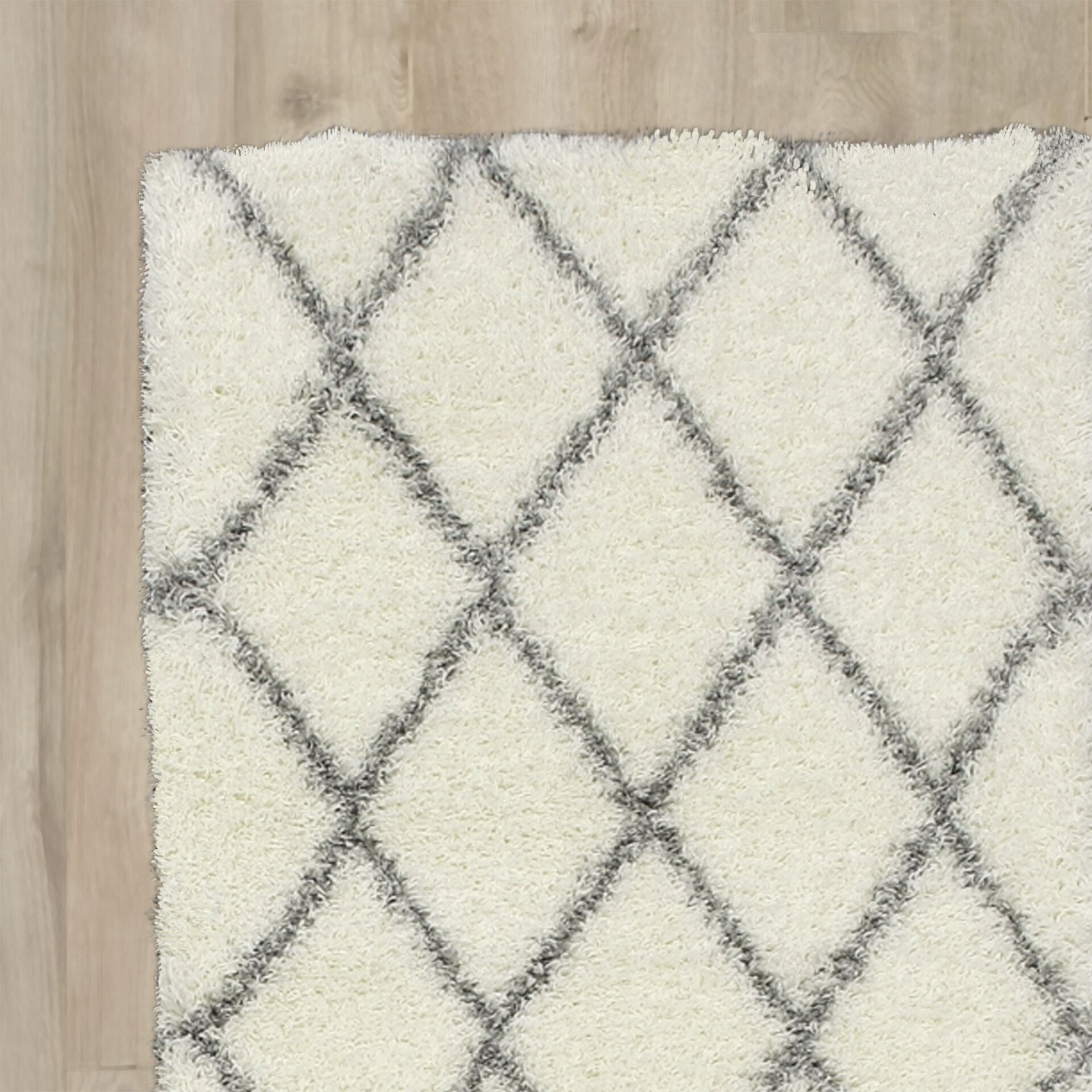 mercury row gray and off white area rug reviews wayfair. Black Bedroom Furniture Sets. Home Design Ideas