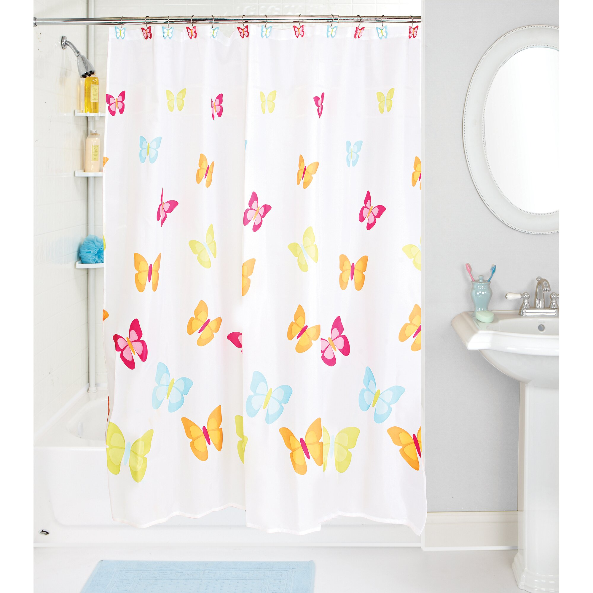 butterfly shower curtain set by simplify