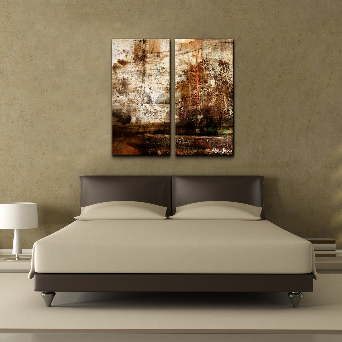 Ready2hangart oversized abstract 2 piece print of painting for Ready set decor reviews