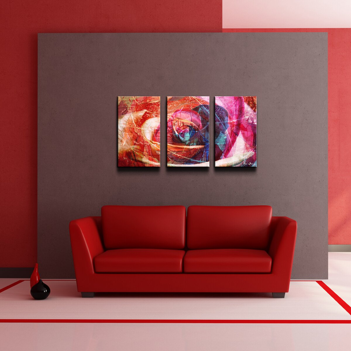 39 abstract rose 39 3 piece wrapped canvas wall art set wayfair. Black Bedroom Furniture Sets. Home Design Ideas