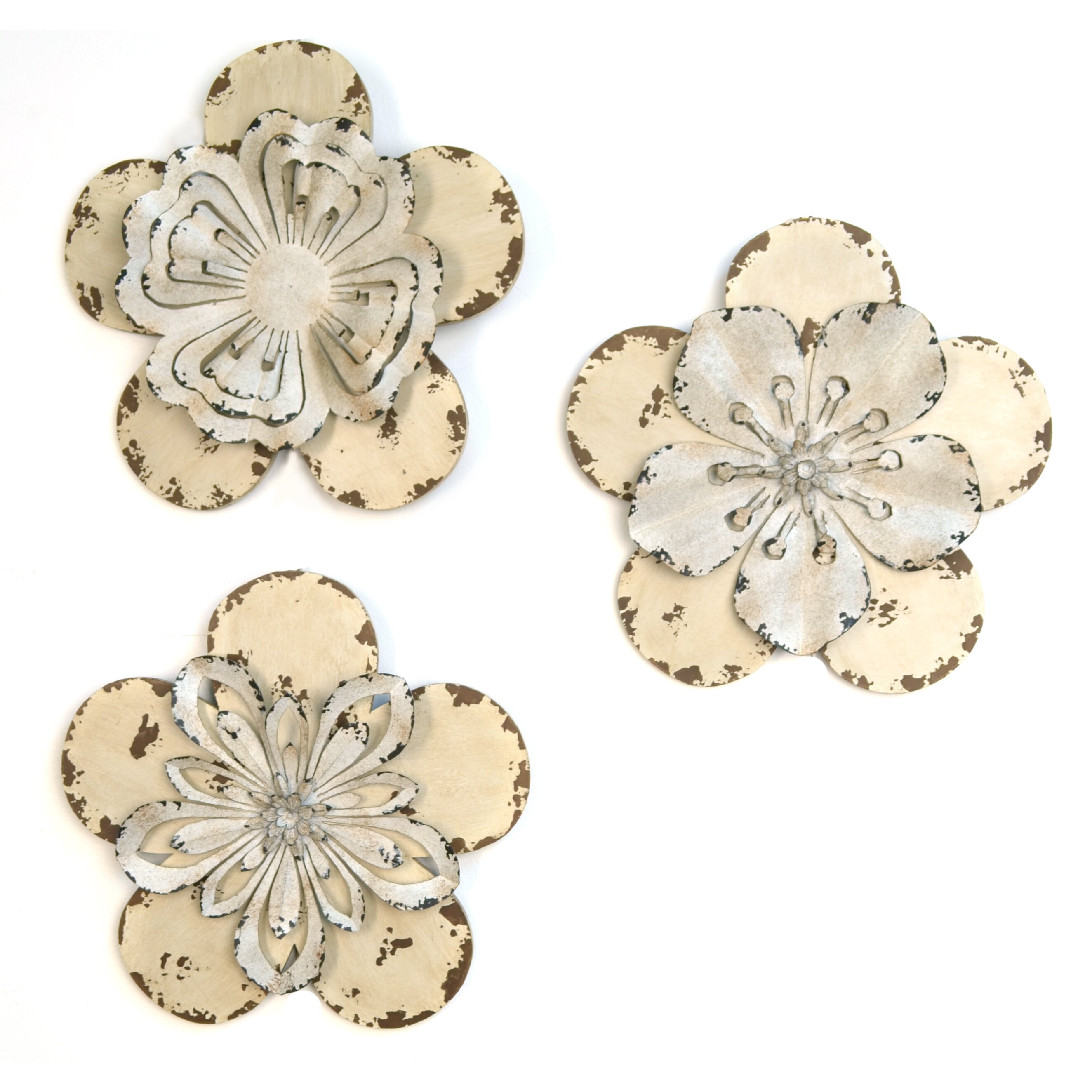 stratton home decor 3 piece rustic flowers wall d cor set