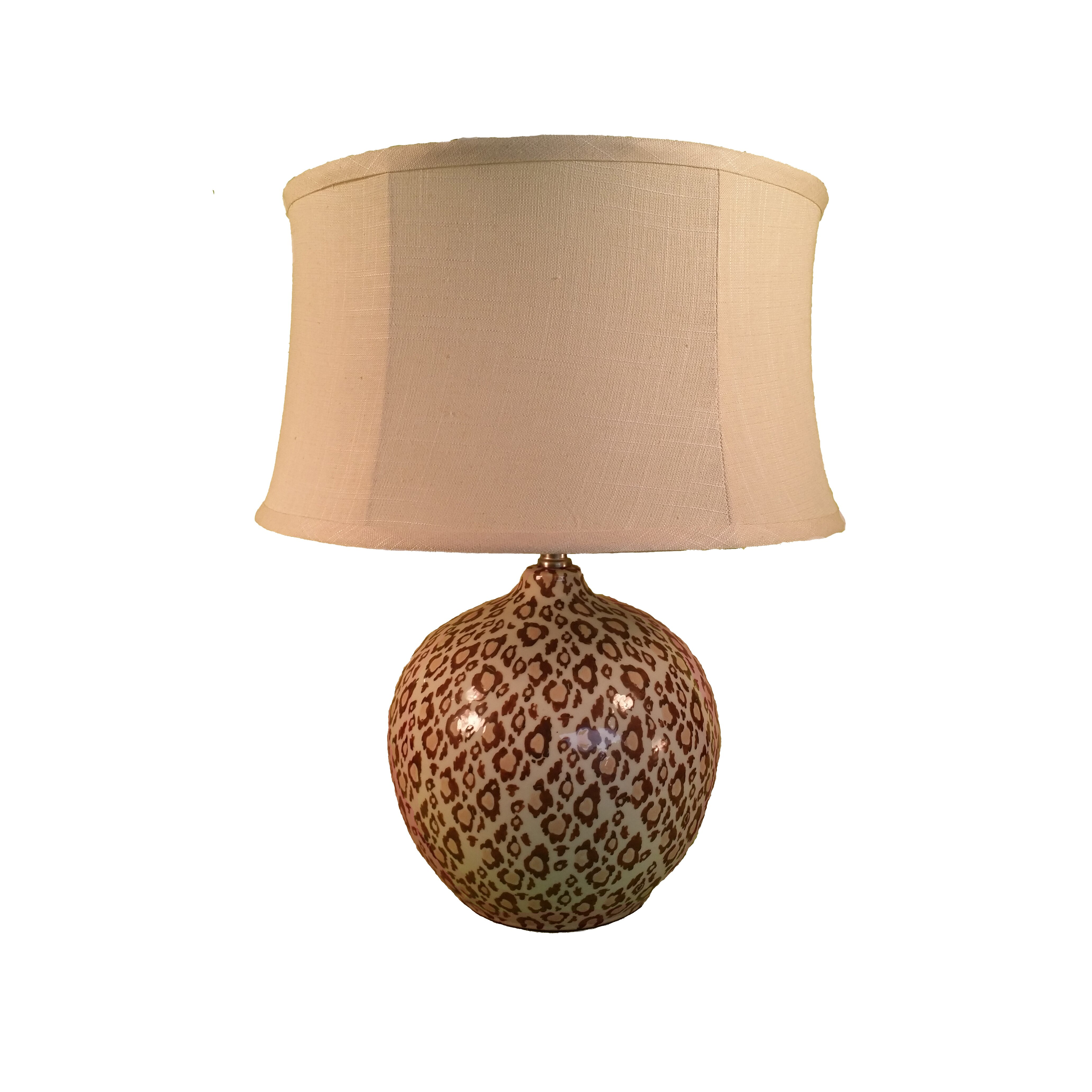 Leopard spotted ceramic 23quot h table lamp with drum shade for Floor lamp with leopard shade