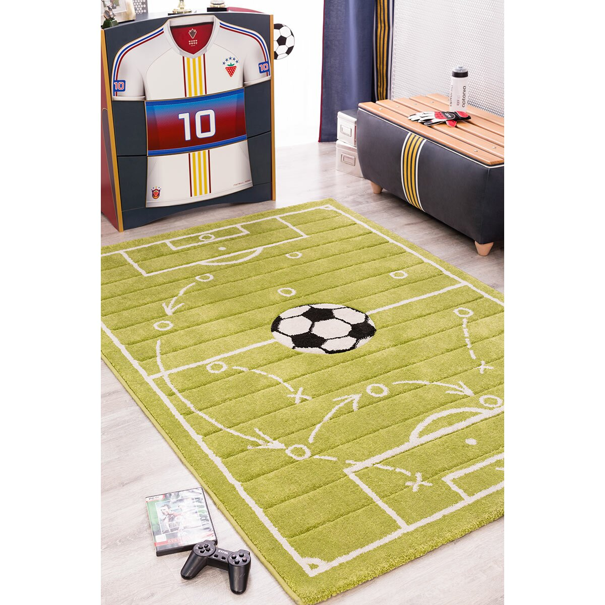 Cilek Soccer Grass Green Area Rug & Reviews