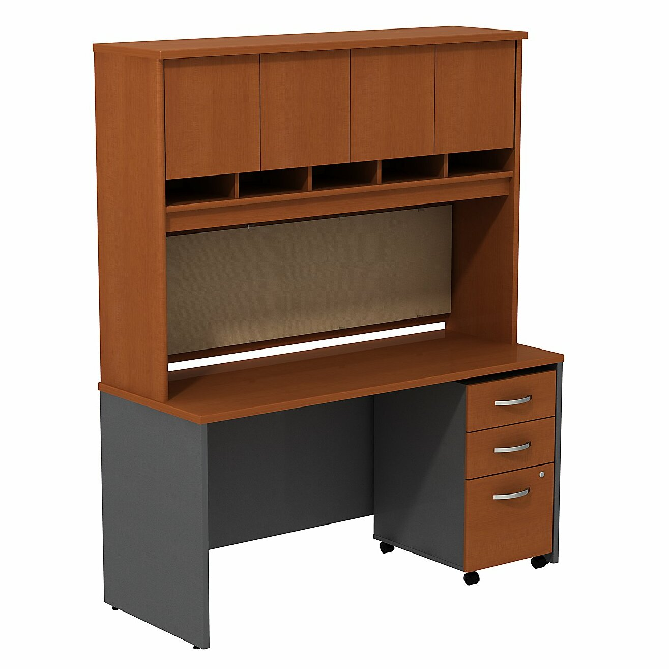Series c desk credenza shell with 4 doors hutch and 3 drawers mobile pedestal wayfair - Mobile credenza ...