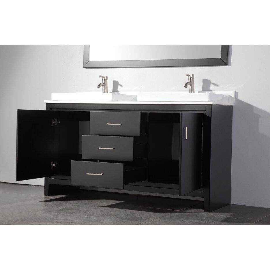 "Double Sink Mirrored Bathroom Vanity: MTDVanities Belarus 60"" Double Sink Bathroom Vanity Set"