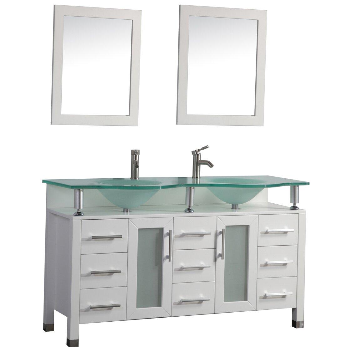 """Double Sink Mirrored Bathroom Vanity: Beliza 60"""" Double Sink Bathroom Vanity Set With Mirror"""