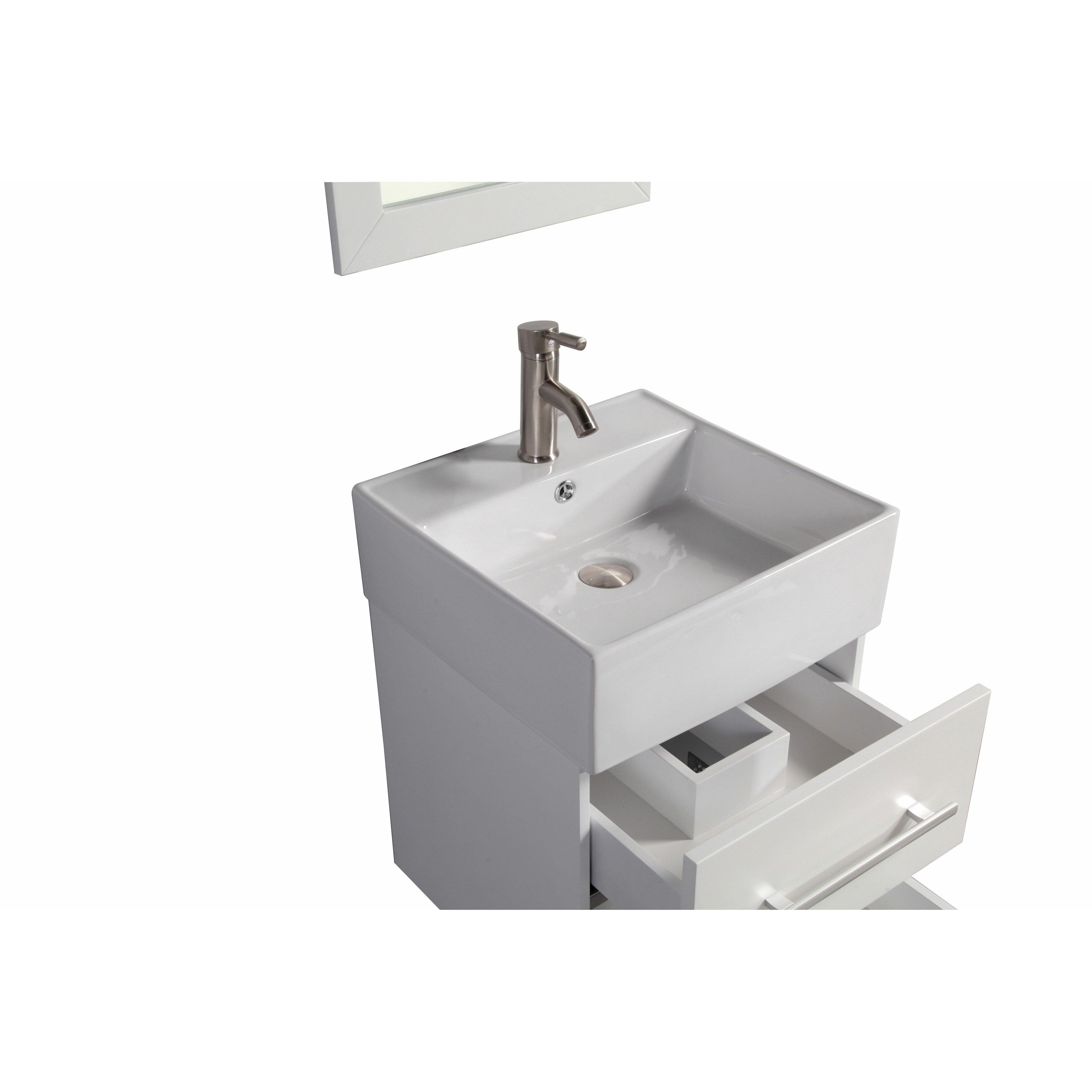 Nepal 18 single sink wall mounted bathroom vanity set with mirror wayfair for Bathroom wall mounted vanity mirrors