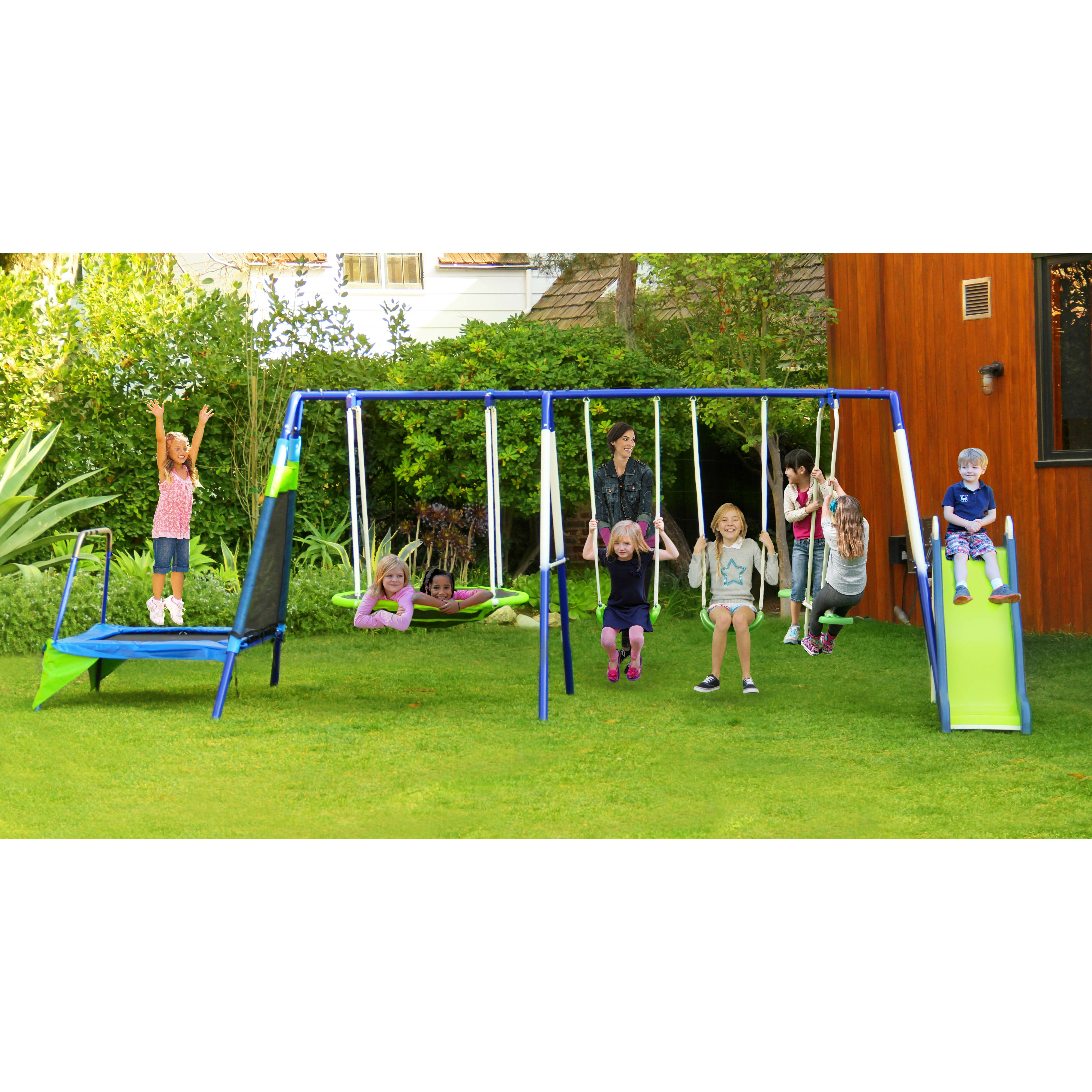 natus inc mountain view metal trampoline slide and swing. Black Bedroom Furniture Sets. Home Design Ideas