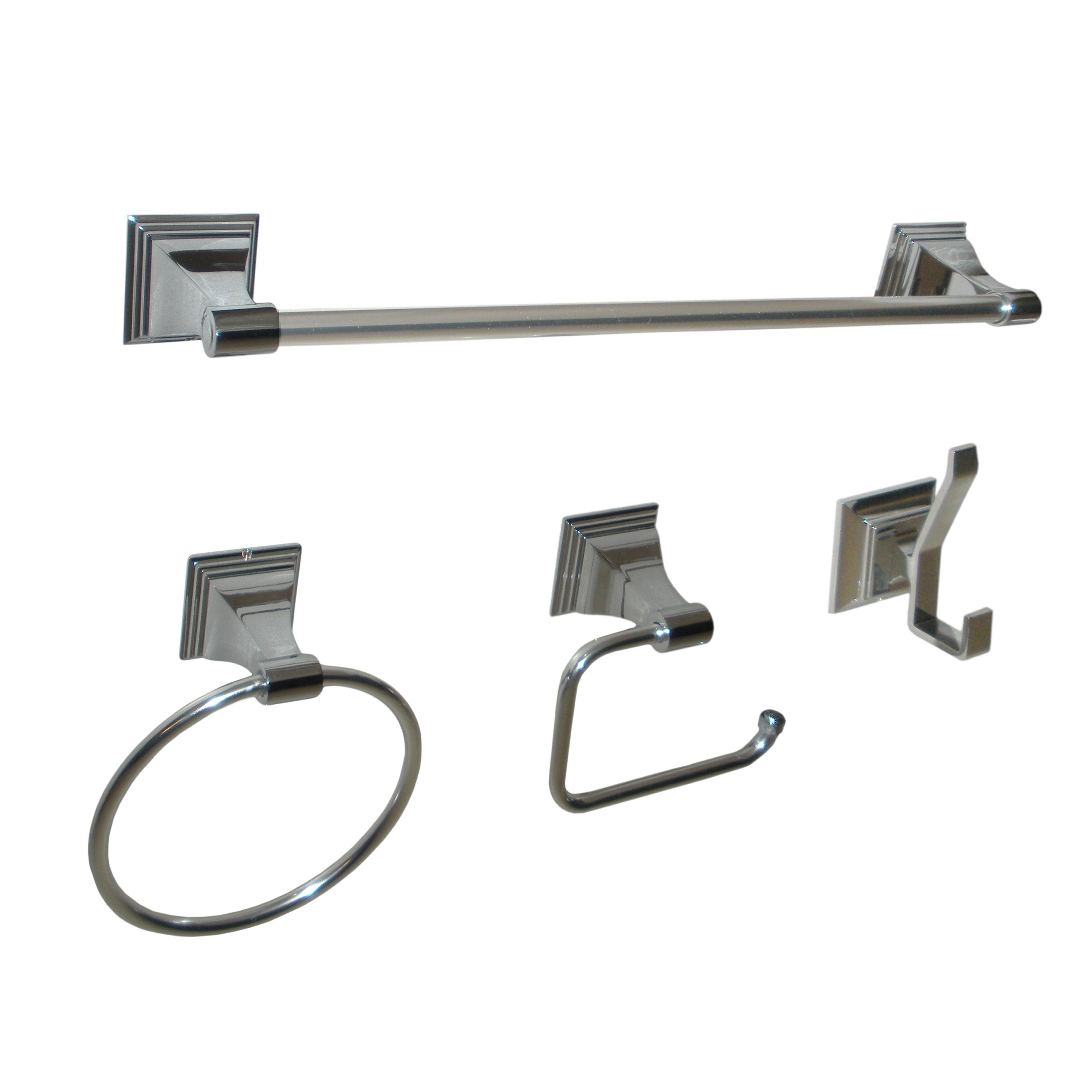 leonard 4 piece wall mounted bathroom hardware set reviews wayfair