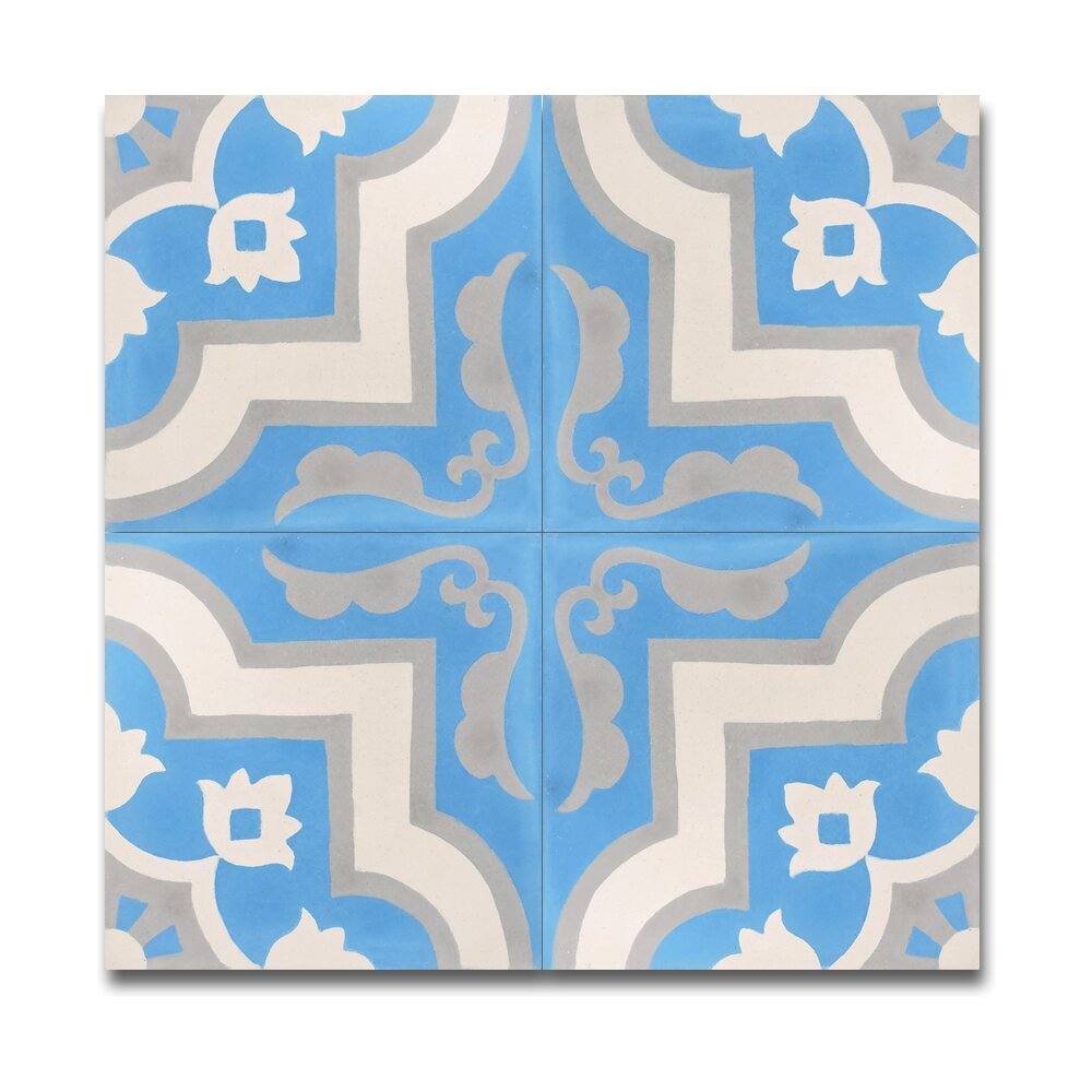 Taza handmade 8 x 8 cement tile in blue and white wayfair for Blue and white cement tile
