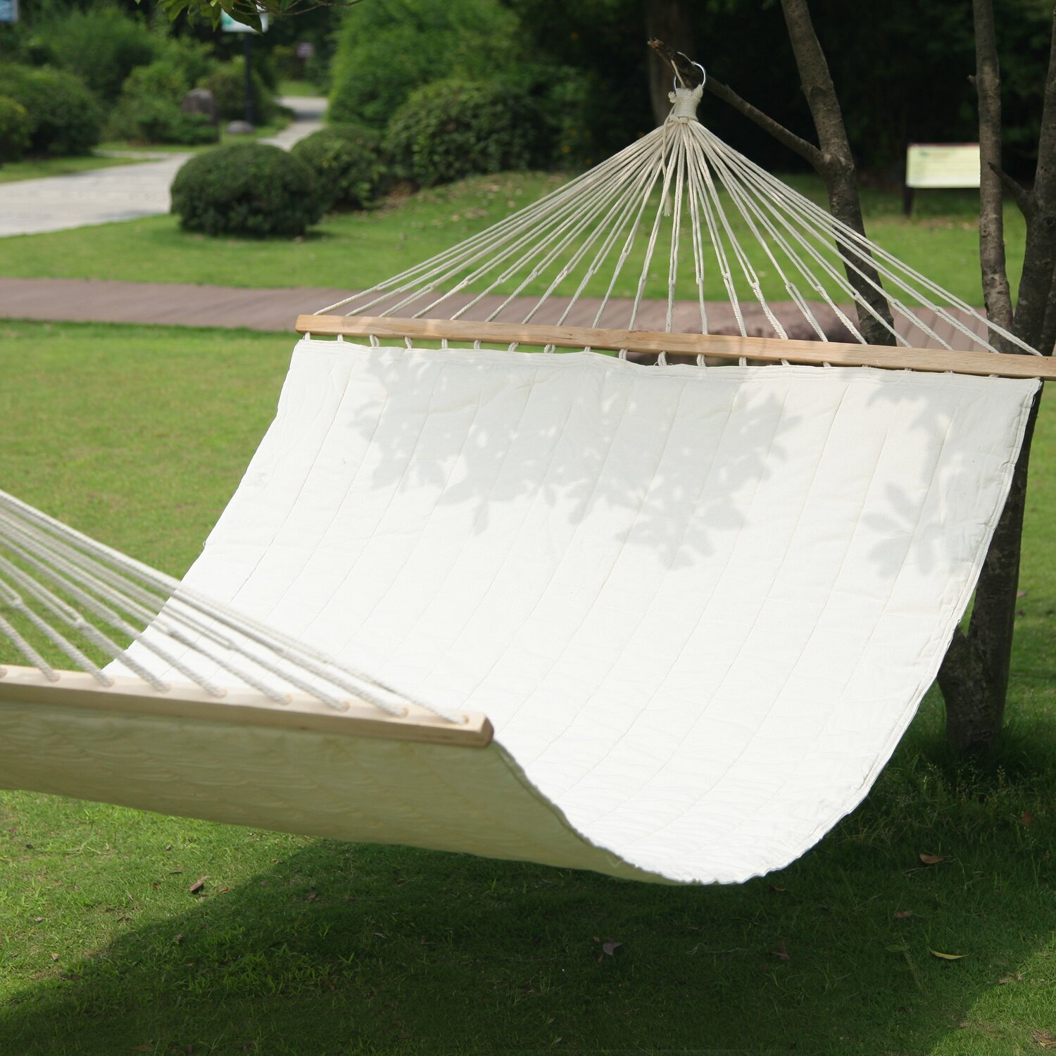 Backyard Hammock Reviews :  Suspended IndoorOutdoor Hammock with Spreader Bar & Reviews  Wayfair