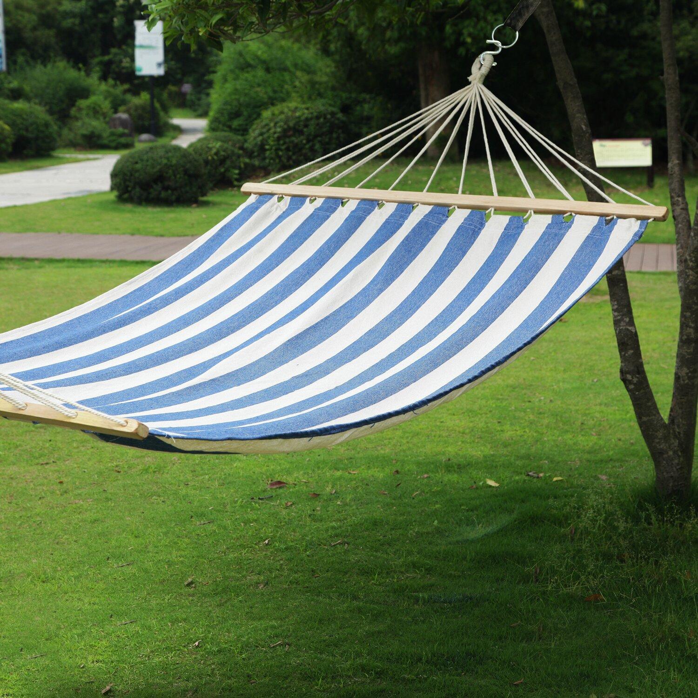 Backyard Hammock Bed : Tree Hanging Suspended IndoorOutdoor Hammock Bed with Spreader Bar by