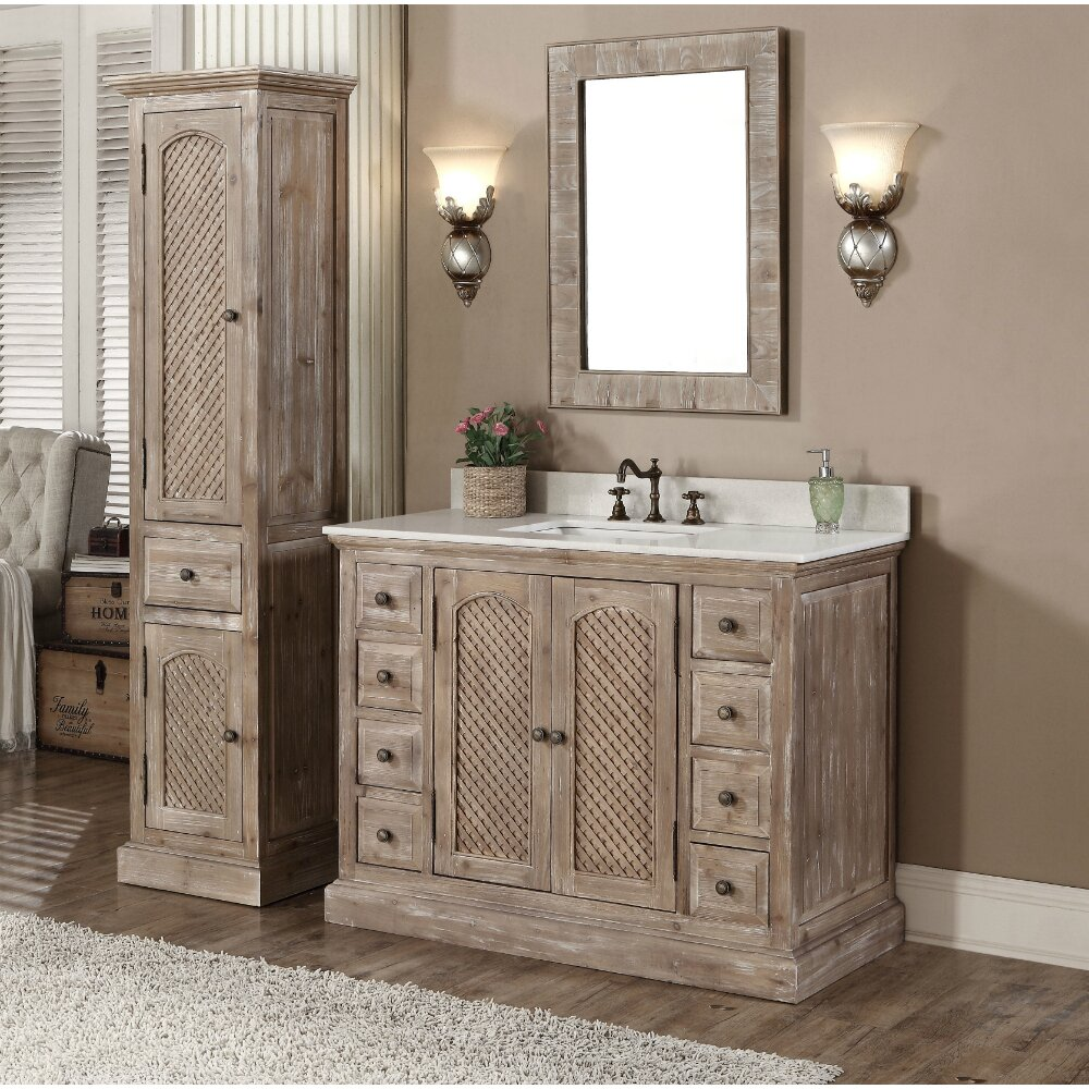 Infurniture Wk Series 49 Single Bathroom Vanity Set With Linen Tower Reviews Wayfair