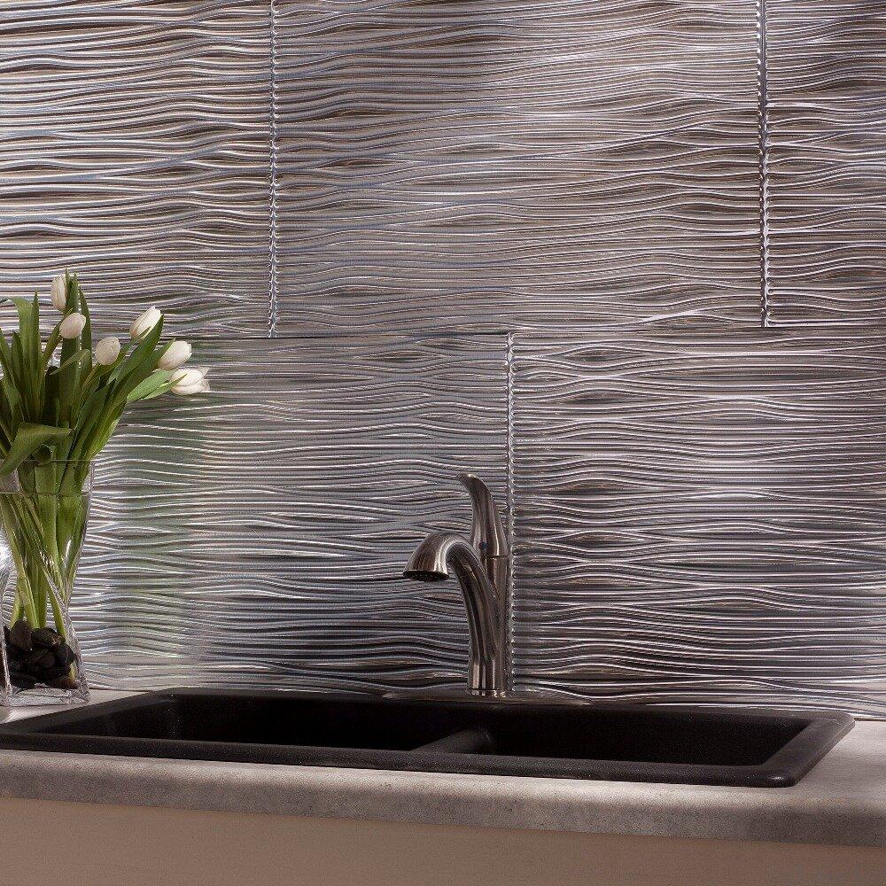 fasade waves x pvc backsplash panel in brushed alumin