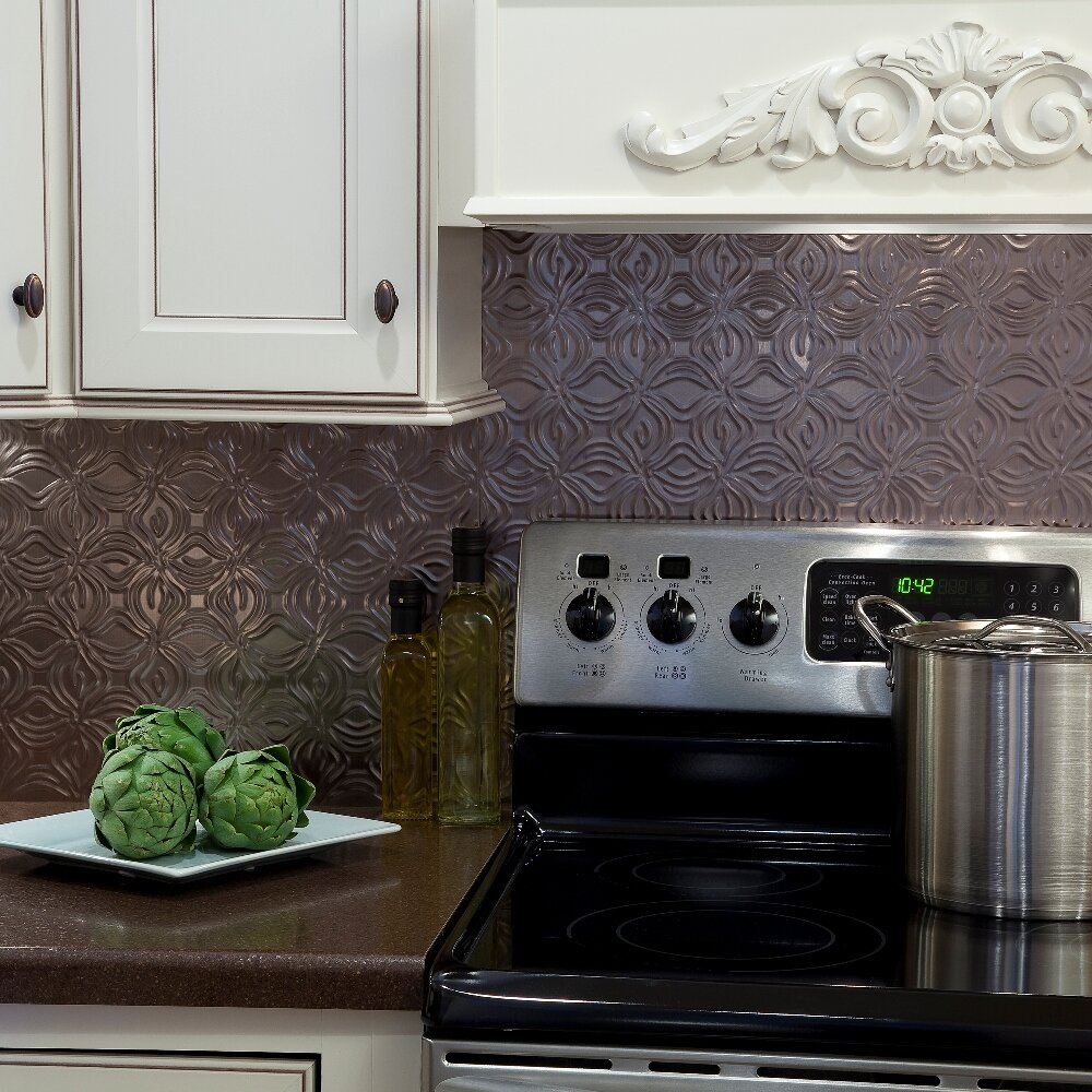"Kitchen Backsplash Kit: Lotus 24.25"" X 18.25"" PVC Backsplash Panel In Brushed"