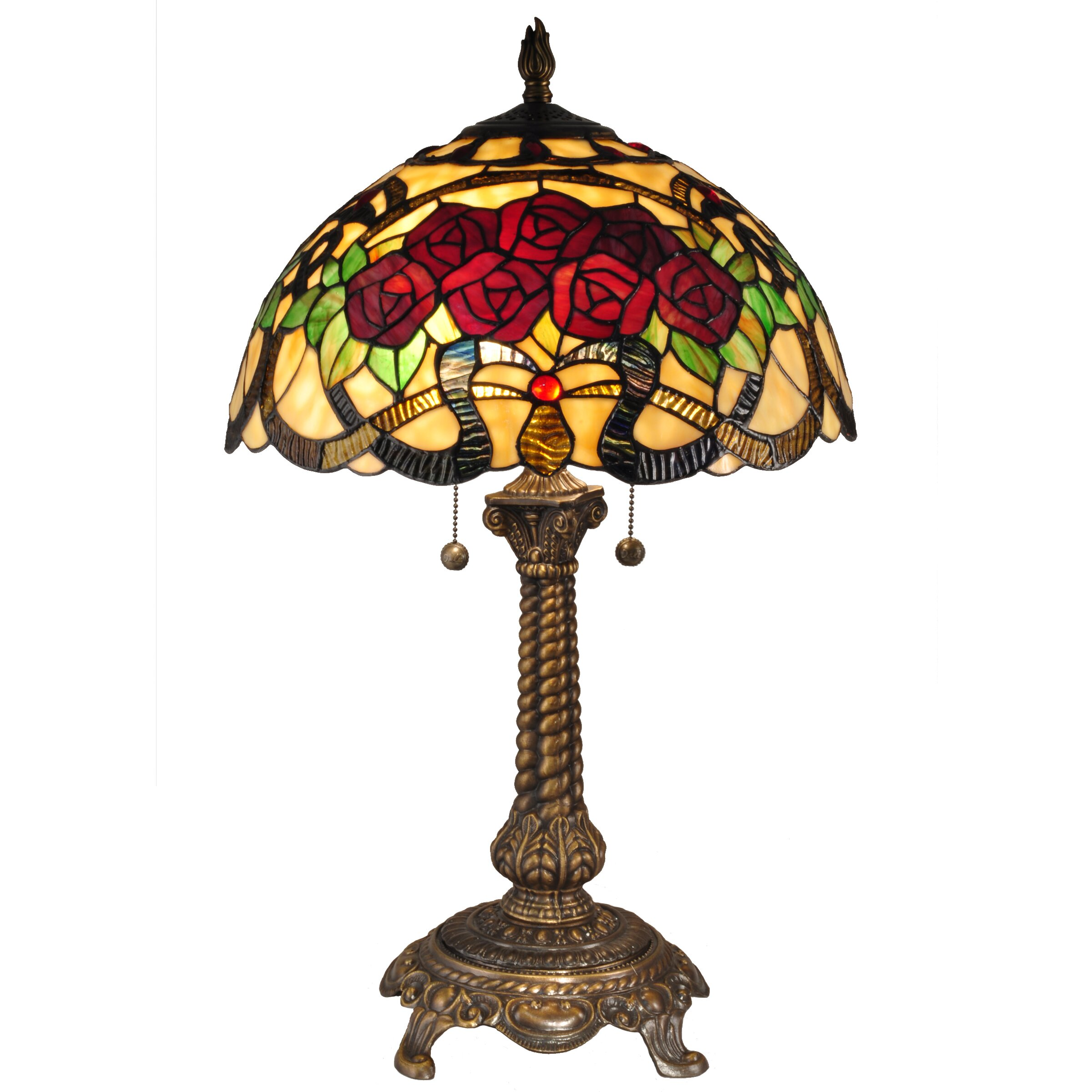 dale tiffany red rose 27 h table lamp with bowl shade reviews. Black Bedroom Furniture Sets. Home Design Ideas