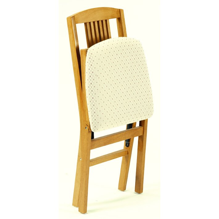 stakmore solid wood folding chair with padded seat 2
