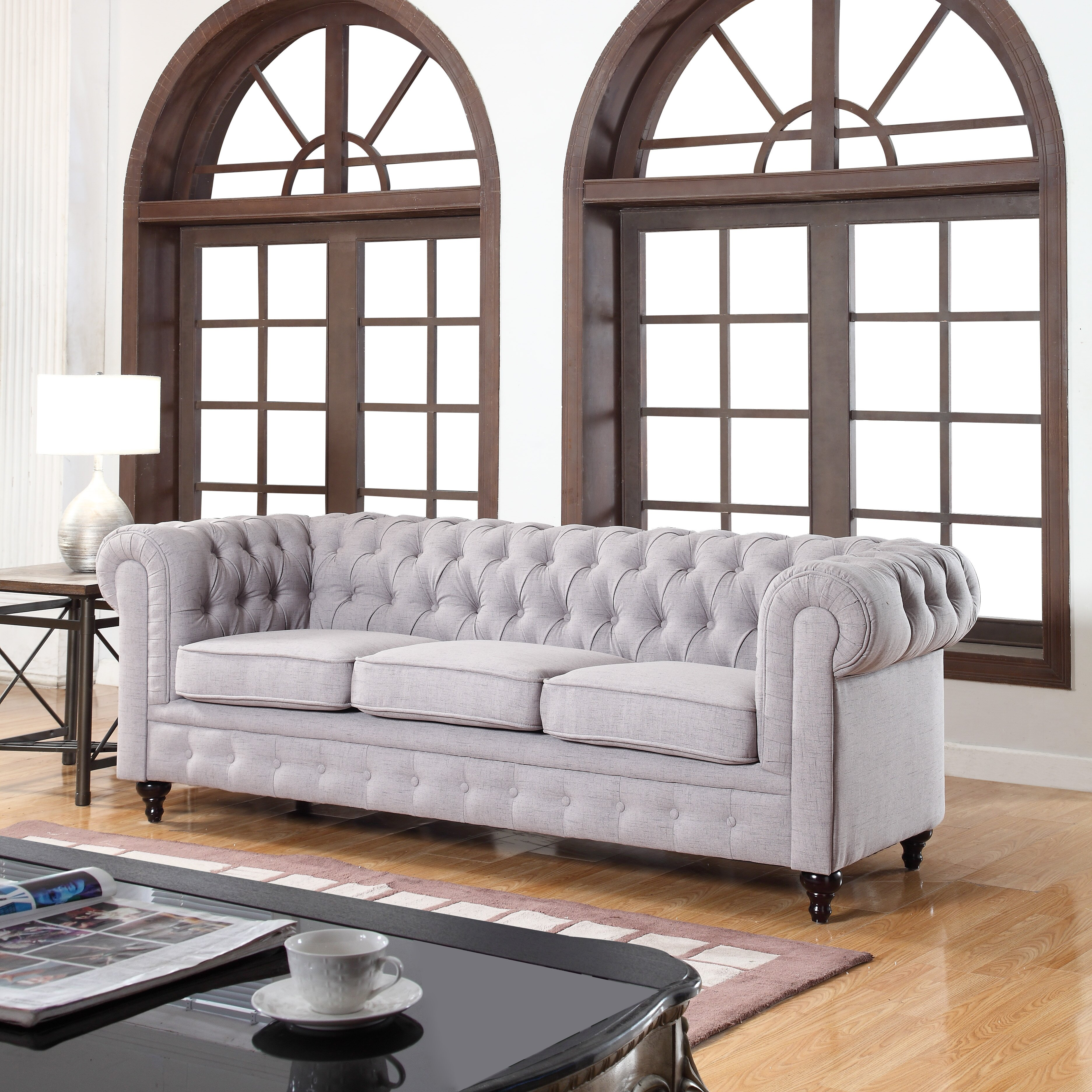 classic tufted linen fabric chesterfield sofa wayfair. Black Bedroom Furniture Sets. Home Design Ideas