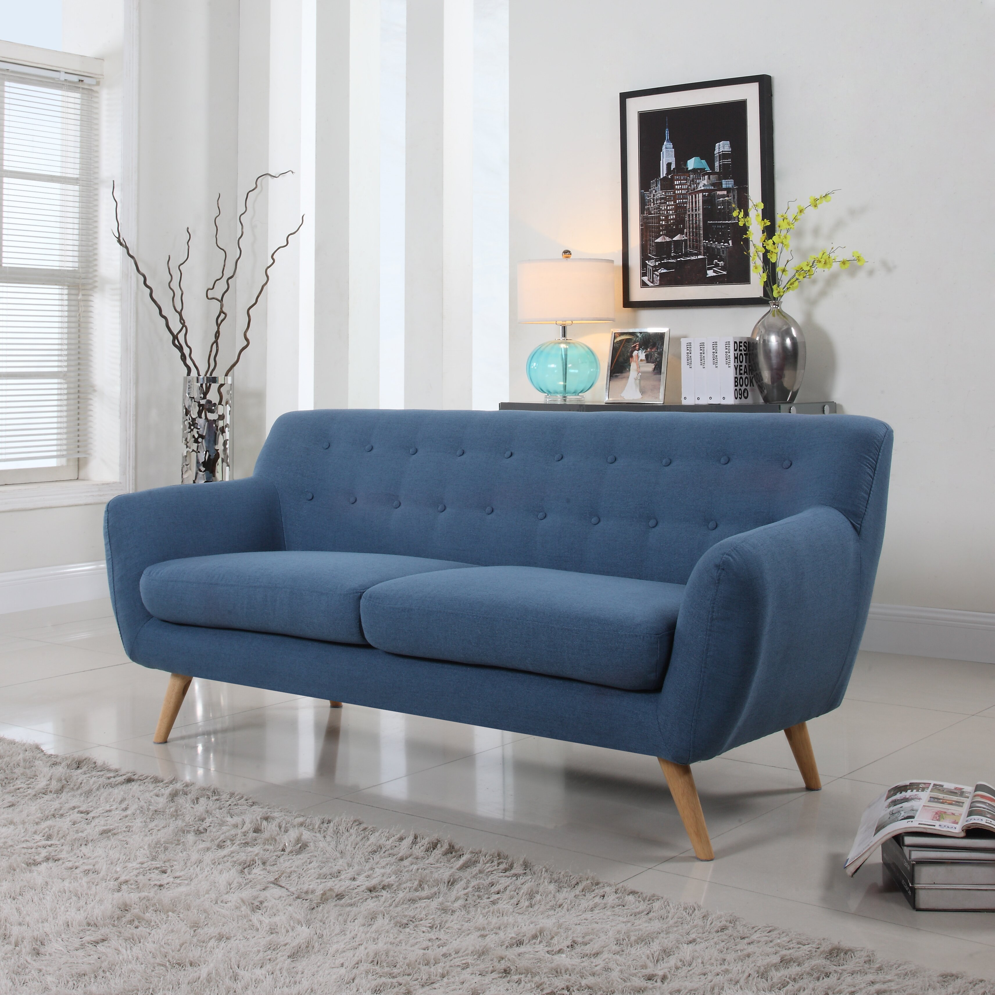 madison home usa mid century sofa reviews wayfair. Black Bedroom Furniture Sets. Home Design Ideas