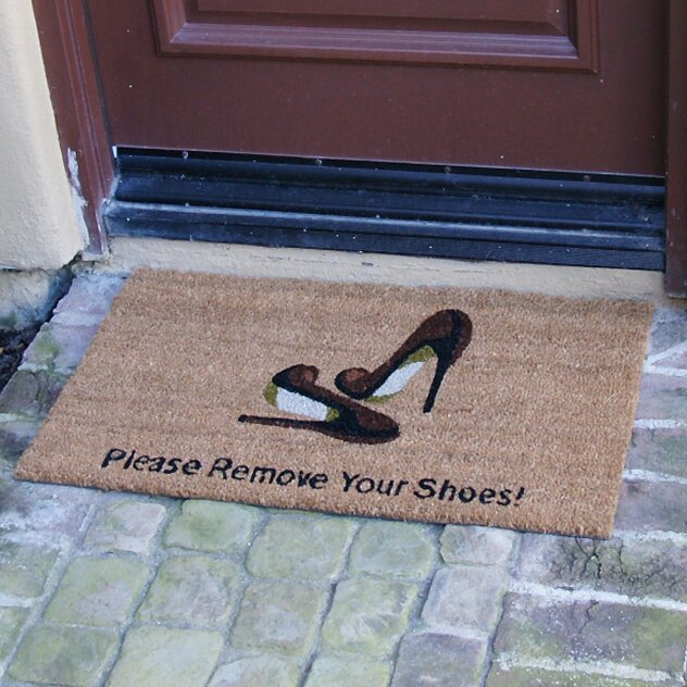 Rubber cal inc welcome and please remove your shoes doormat reviews wayfair - Remove shoes doormat ...
