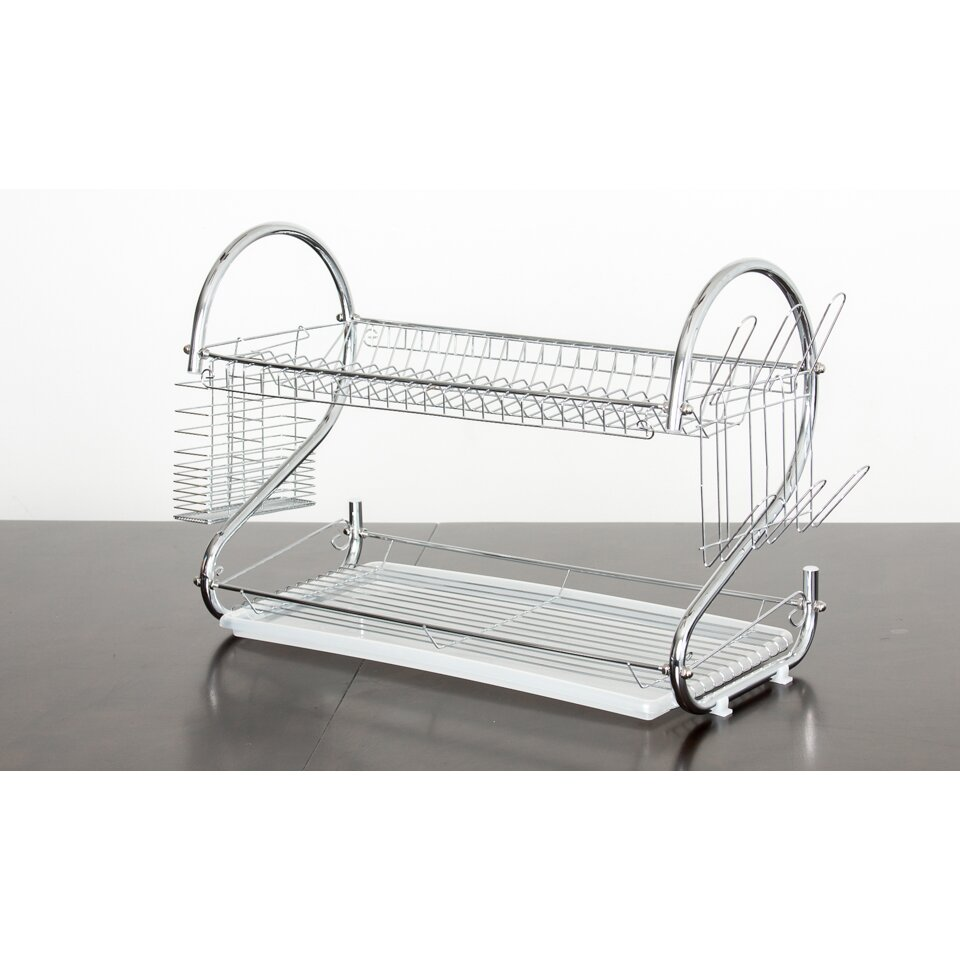 imperial home elegant 2 tier stainless steel dish rack dish drainer reviews wayfair. Black Bedroom Furniture Sets. Home Design Ideas