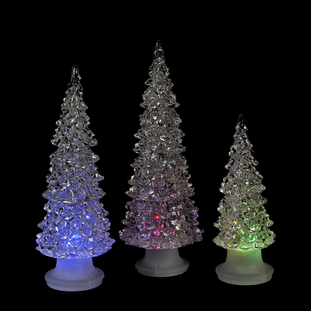 Small Battery Operated Christmas Tree: Icy Crystal 3 Piece LED Christmas Trees Battery Operated