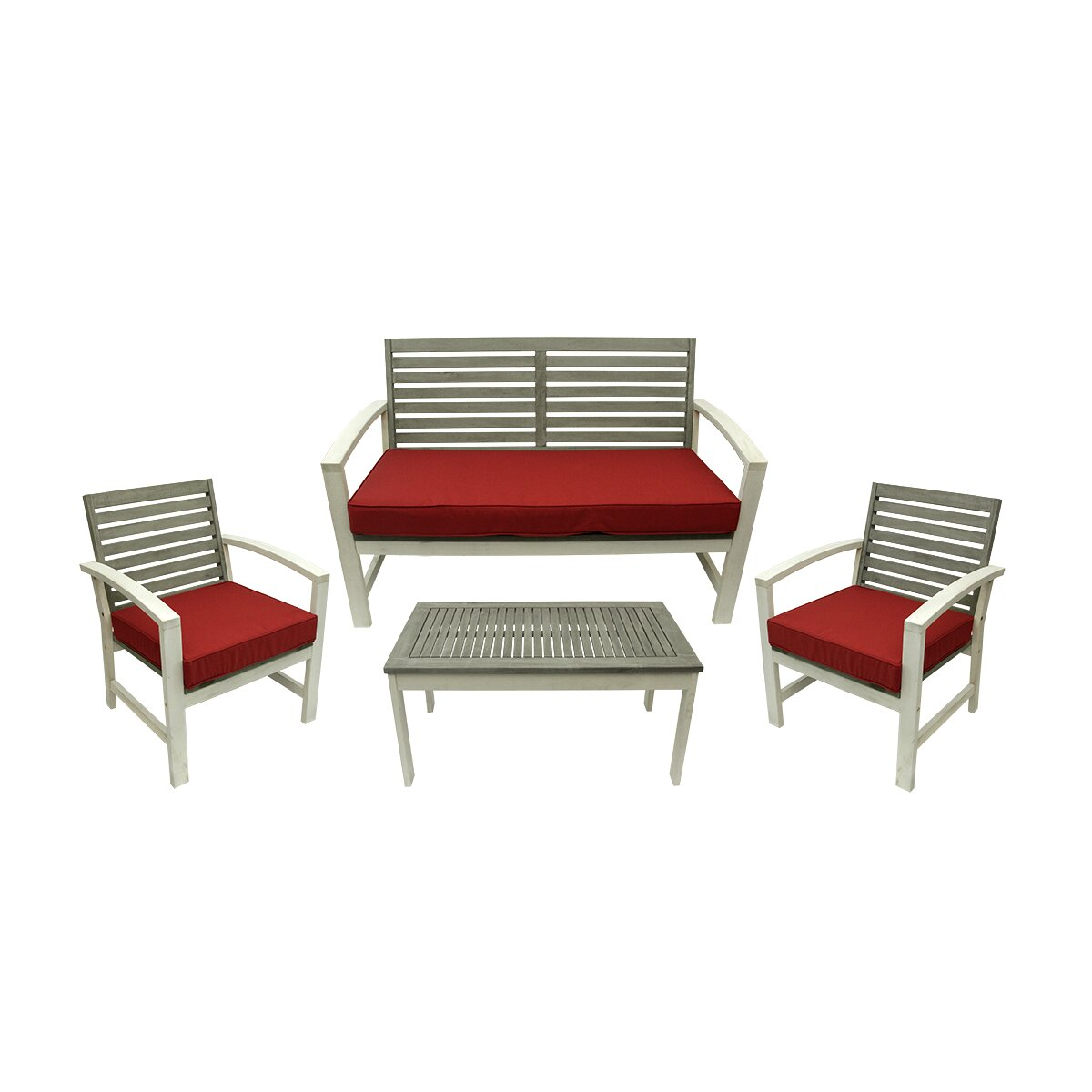 northlight seasonal 4 piece acacia wood outdoor furniture set