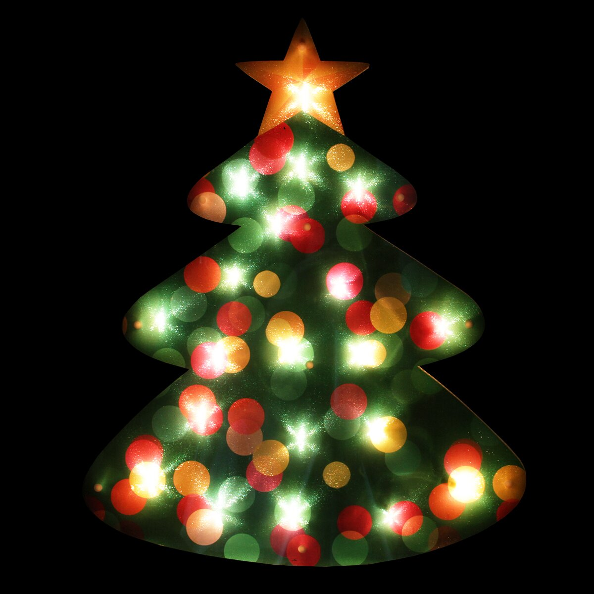 Lighted shimmering christmas tree window silhouette decoration wayfair for 18 lighted christmas tree with stars window silhouette decoration