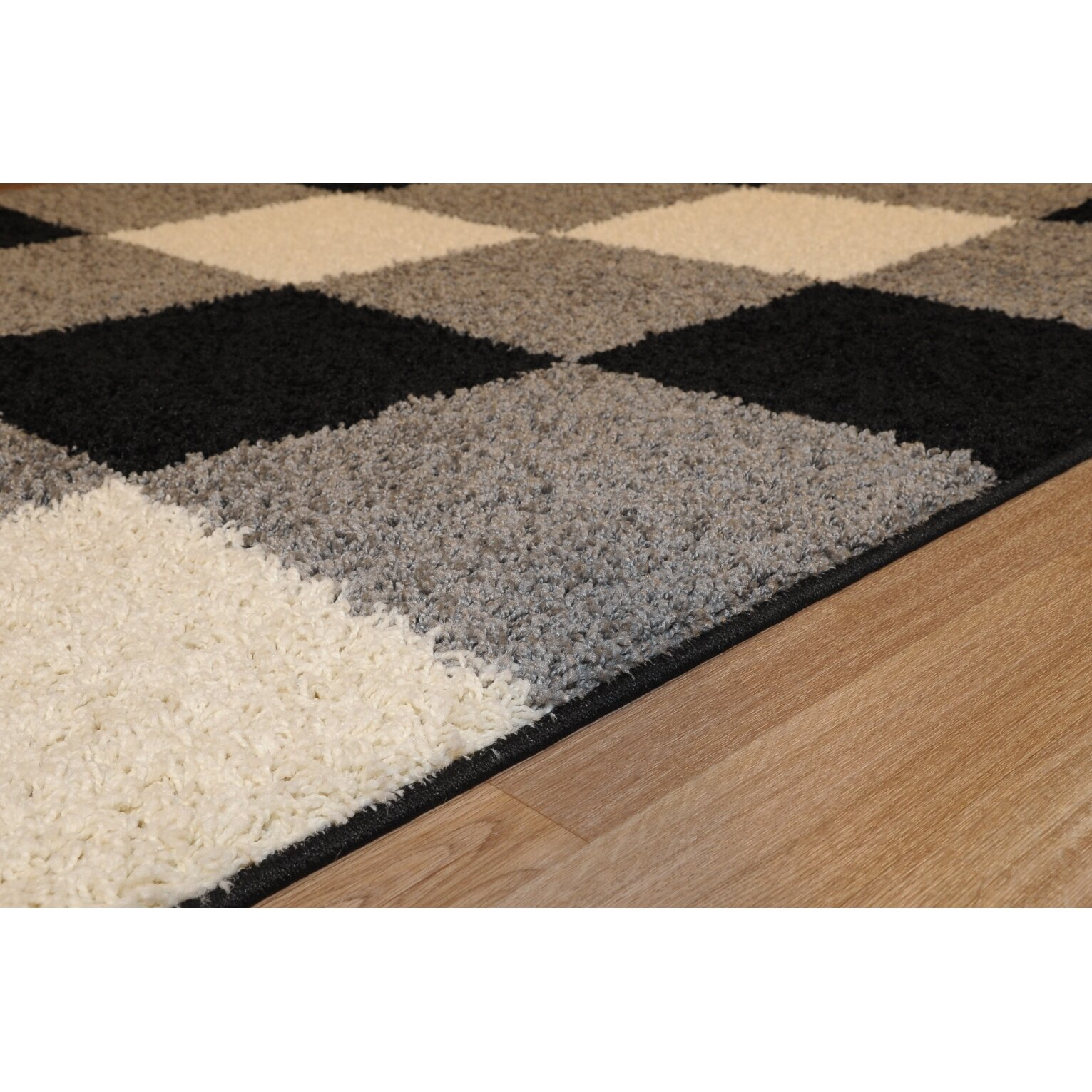 Checked Black Grey Rug: Rugnur Bella Maxy Home Checkerboard Squares Contemporary
